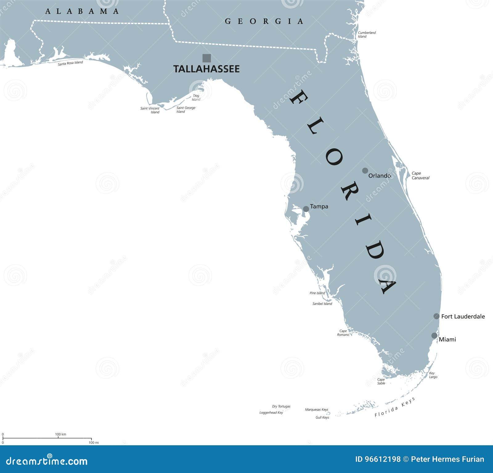 Mapa Político De La Florida Estados Unidos Ilustración Del Vector Ilustración De Gris Alabama 96612198