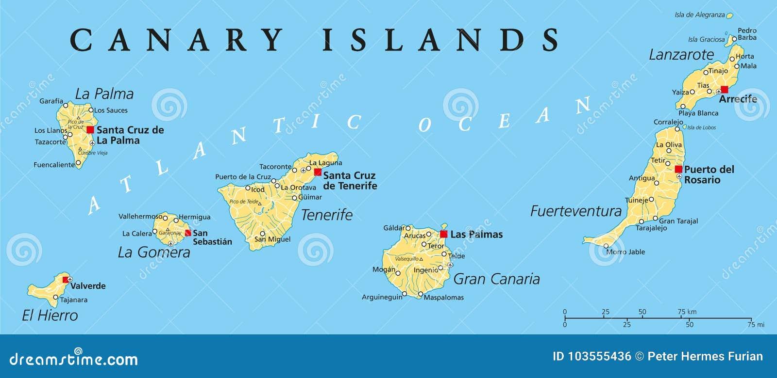 Mapa Politico De Las Islas Canarias Ilustracion Del Vector Ilustracion De Sebastian Atlantico 103555436