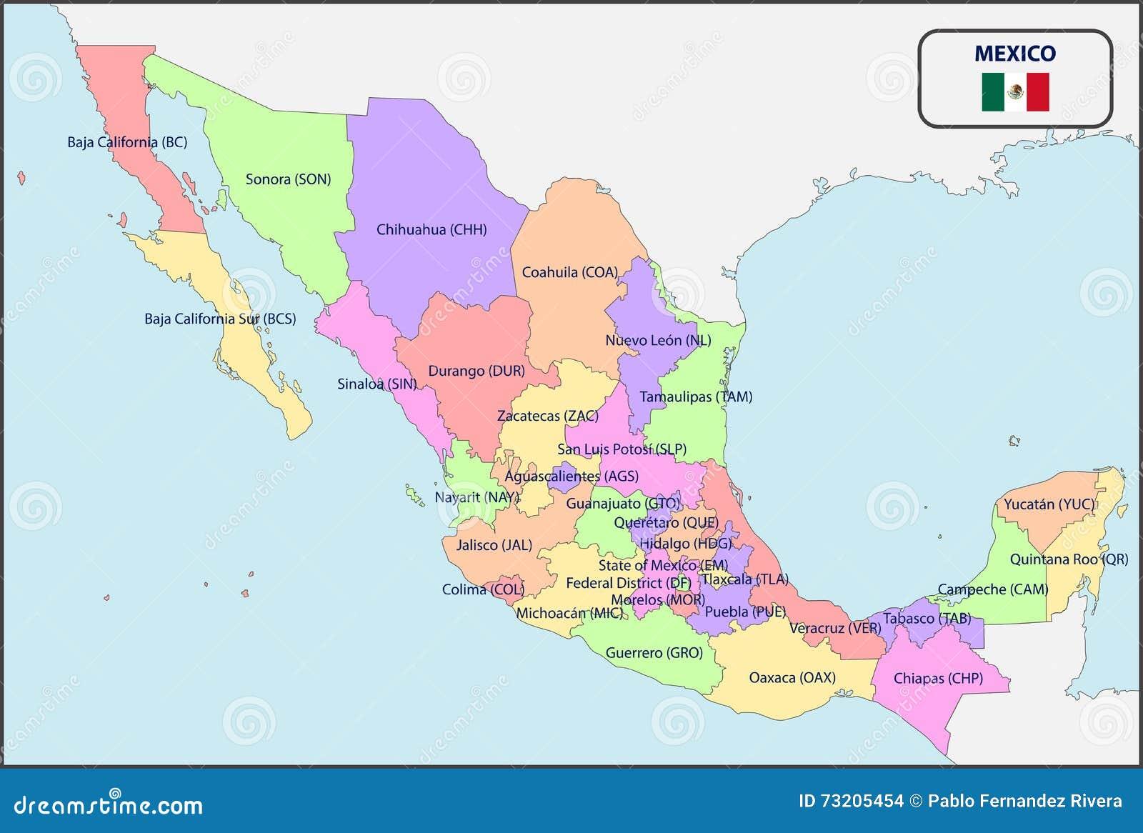 Mapa De Localização De Pontos De Vetor Localização De: Mapa Político De México Com Nomes Ilustração Do Vetor