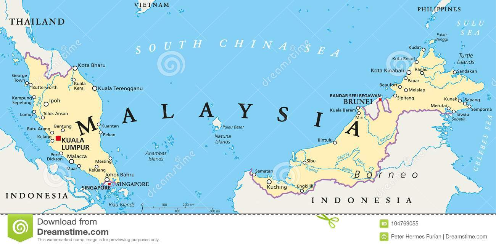 Mapa Politico De Malasia Ilustracion Del Vector Ilustracion De