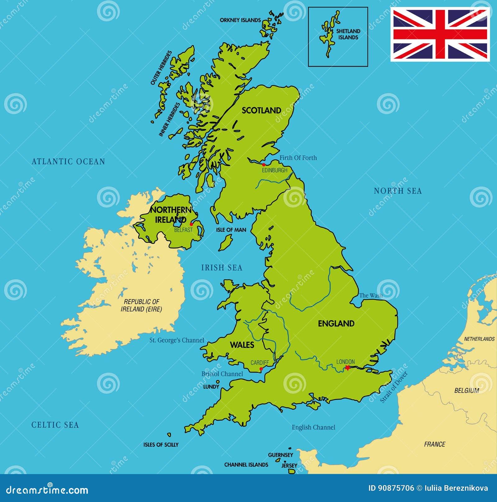 Mapa Político De Reino Unido Con Regiones Y Sus Capitales
