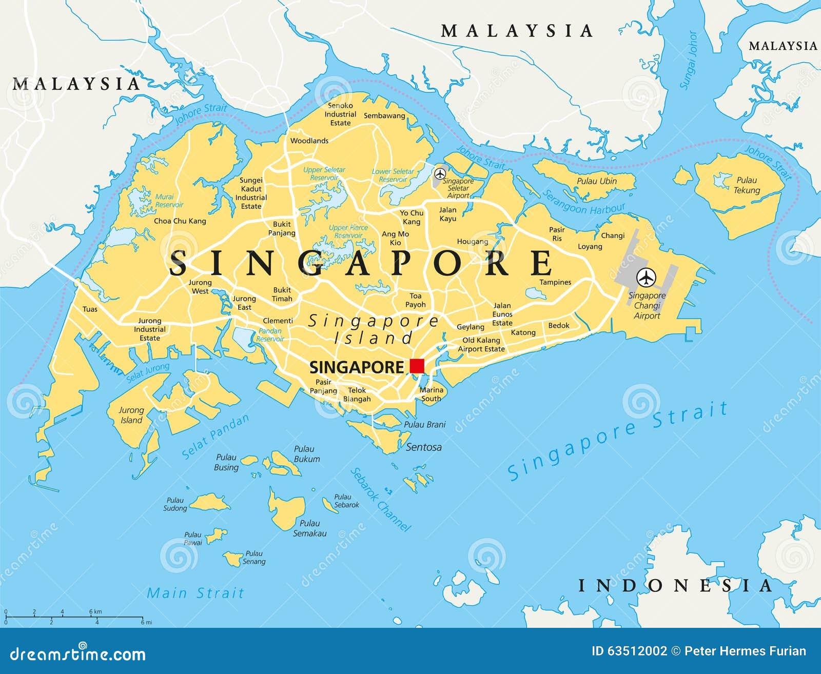 singapura no mapa Mapa político de Singapura ilustração do vetor. Ilustração de  singapura no mapa