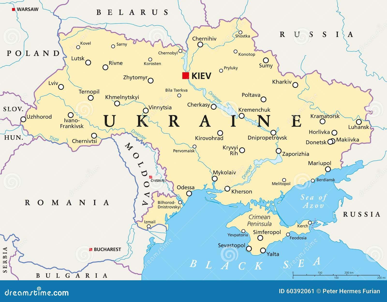 Mapa Politico De Ucrania Ilustracion Del Vector Ilustracion De