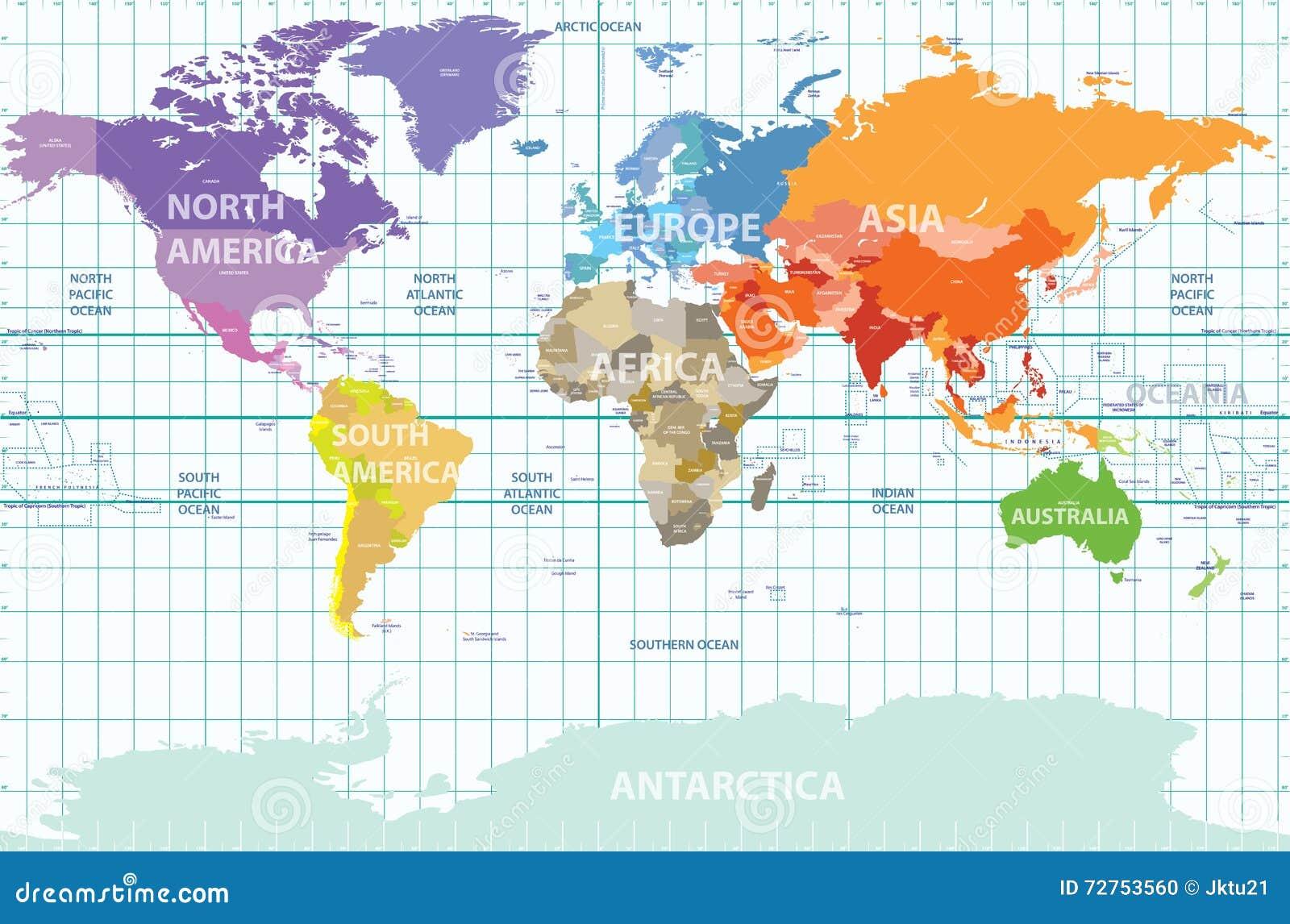 Mapa político del mundo con todos los continentes separados por el color, etiquetado países y océanos, y con las longitudes enume