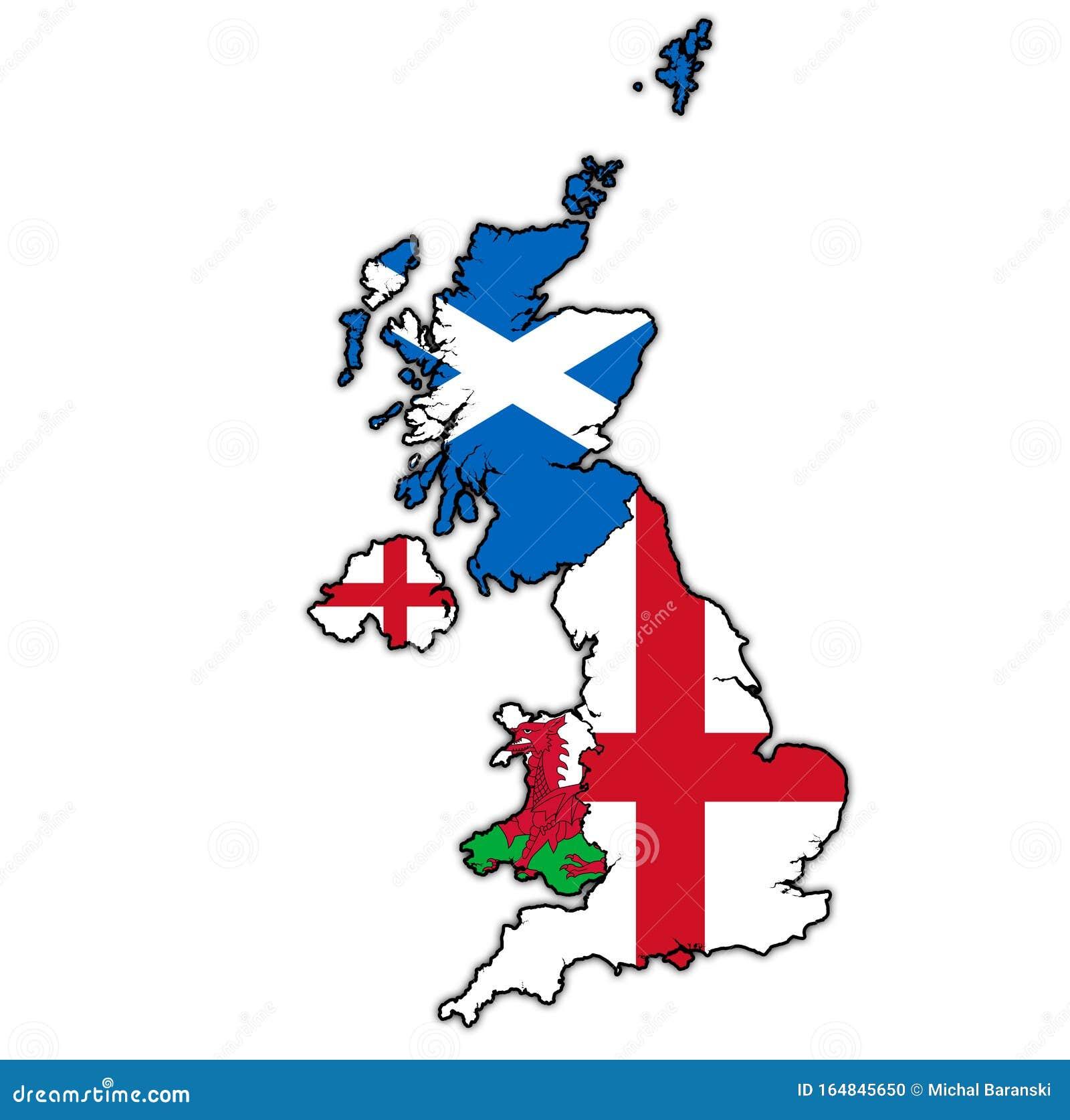 Mapa Político Del Reino Unido Con Los Países Miembros Stock De Ilustración Ilustración De Grande Municipio 164845650