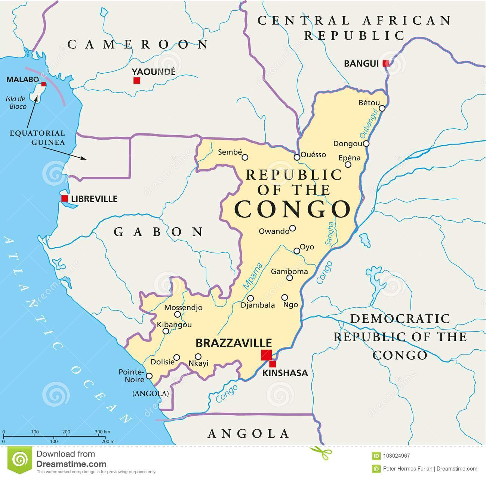 Mapa Político Del República Del Congo Ilustración Del Vector