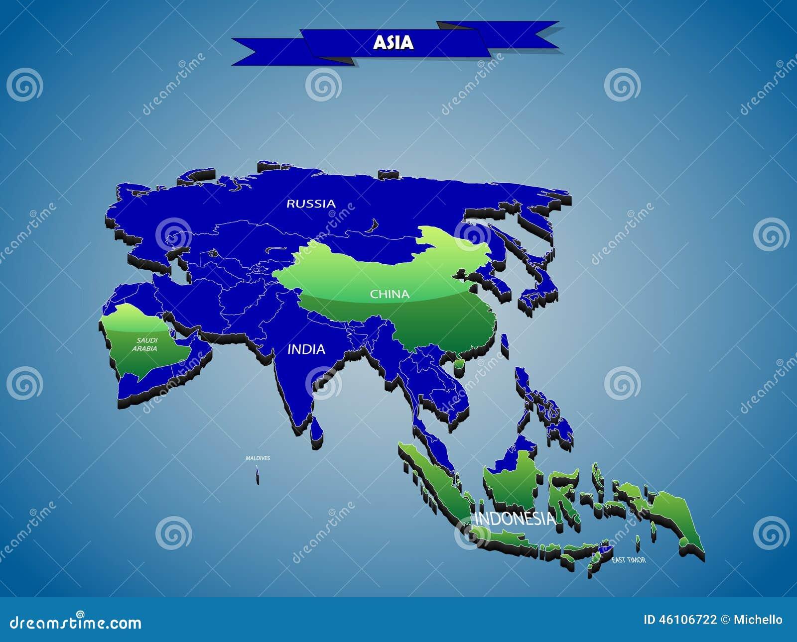 Mapa político do infographics 3 dimensional do continente asiático