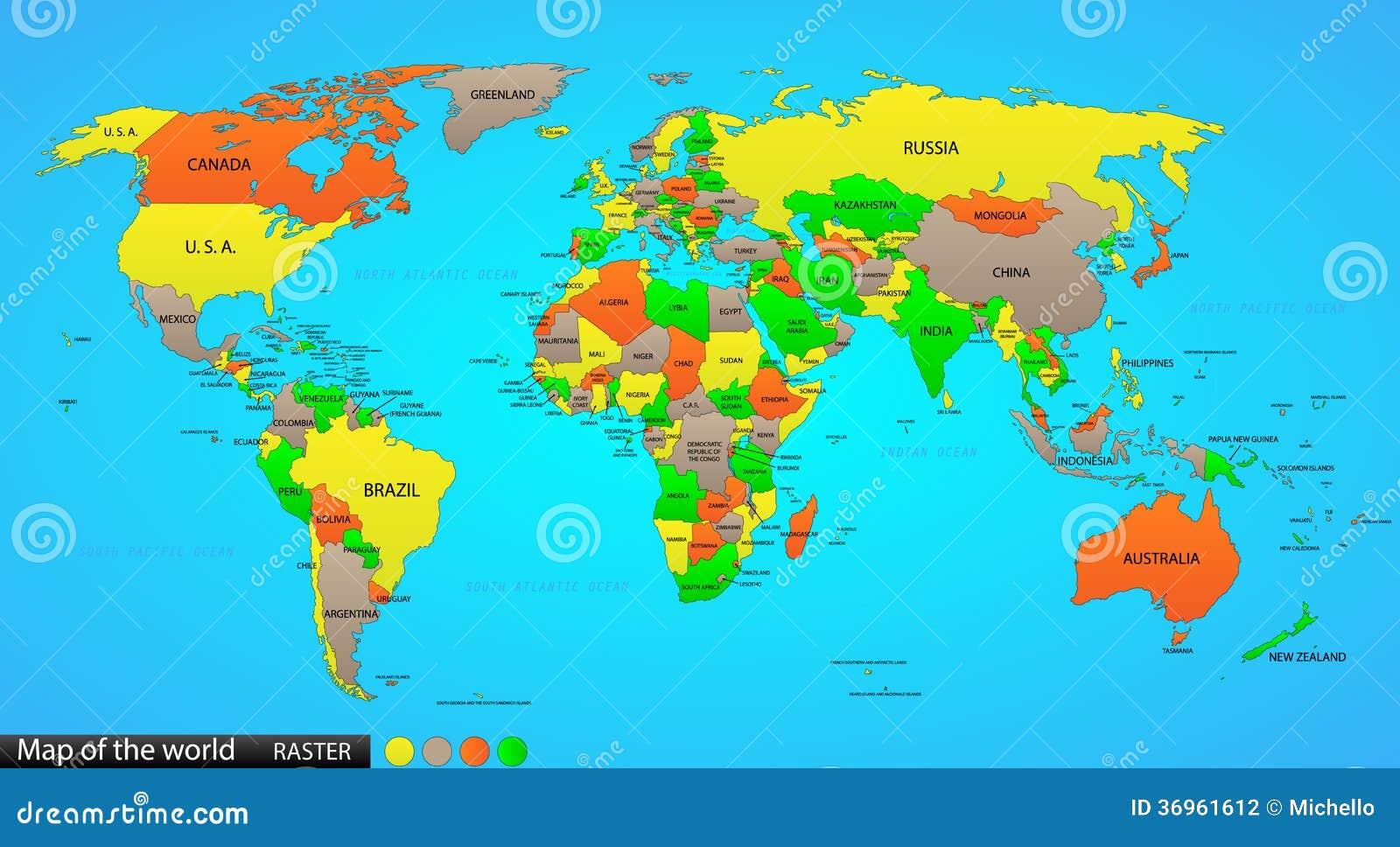 mapa politico do mundo Mapa político do mundo ilustração do vetor. Ilustração de coleção  mapa politico do mundo