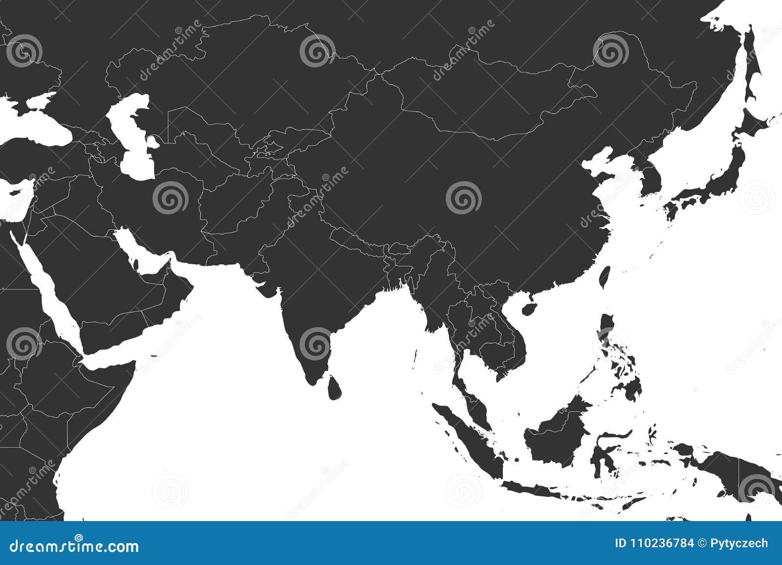 Mapa político en blanco de Asia occidental, meridional y del este en gris Ejemplo plano simple del vector
