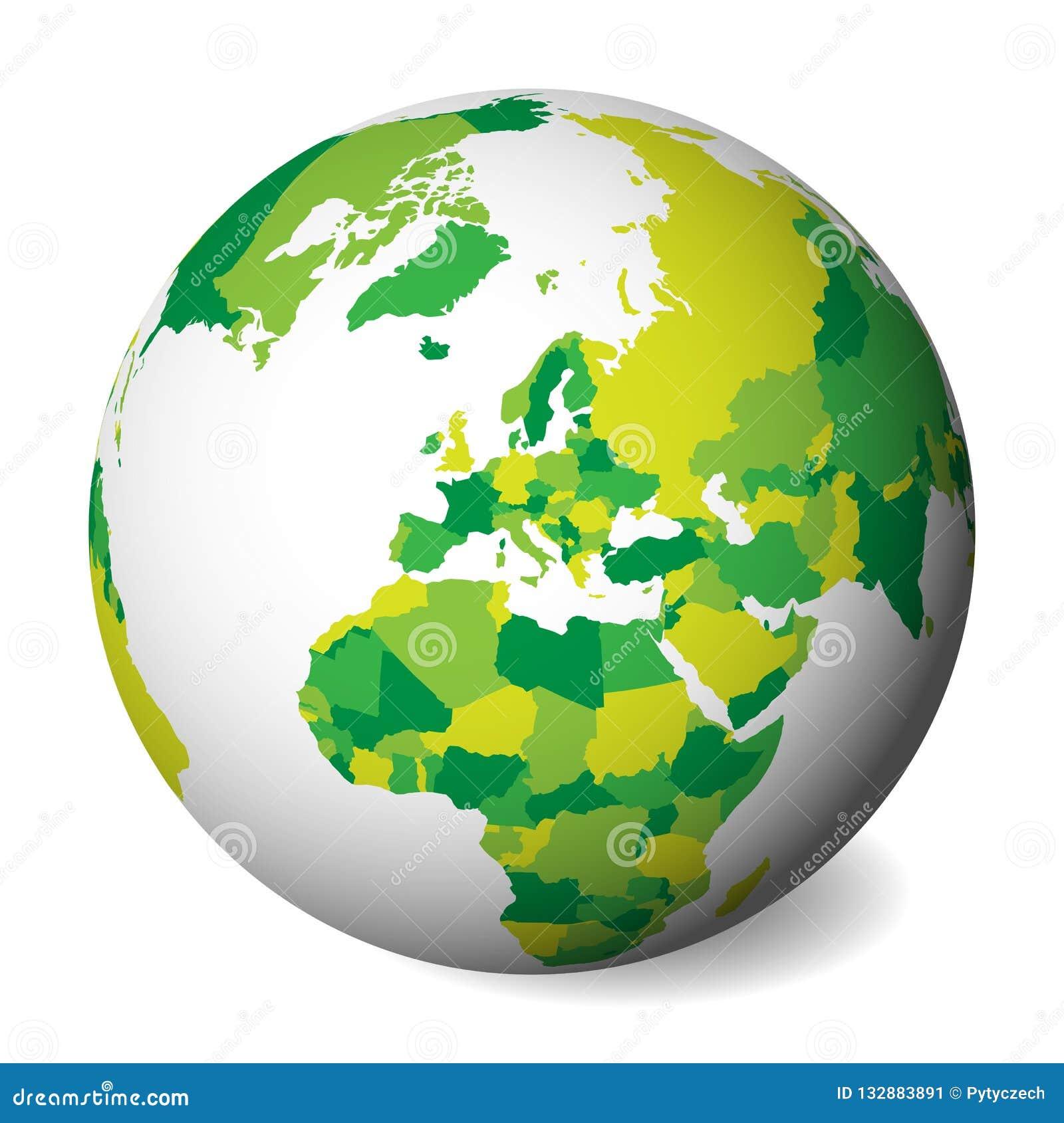 Mapa político en blanco de Europa globo de la tierra 3D con el mapa verde Ilustración del vector