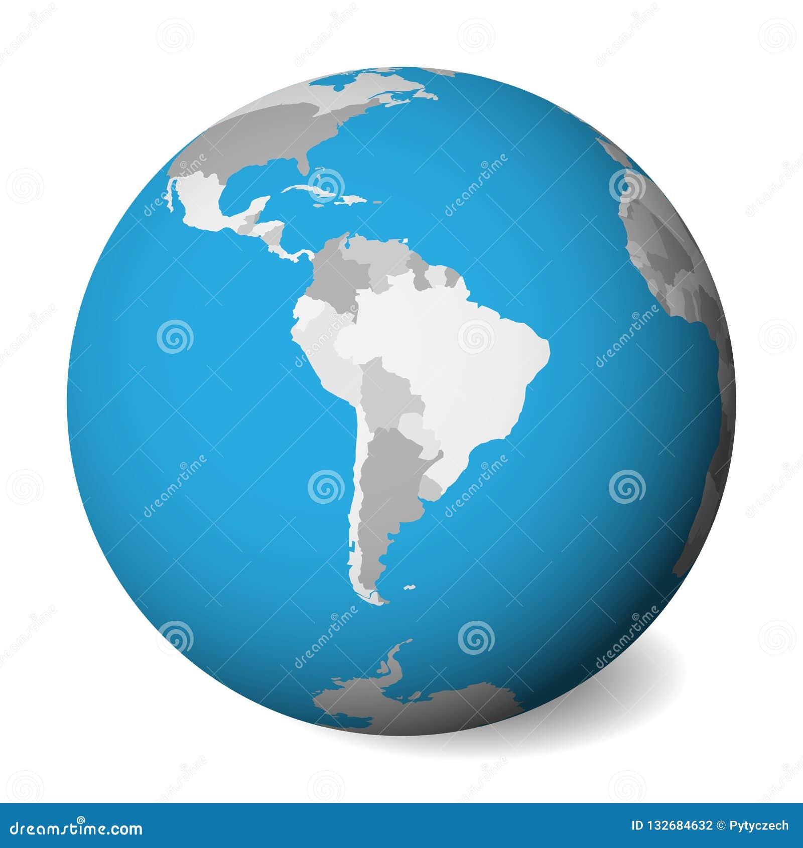 Mapa político en blanco de Suramérica globo de la tierra 3D con agua azul y las tierras grises Ilustración del vector