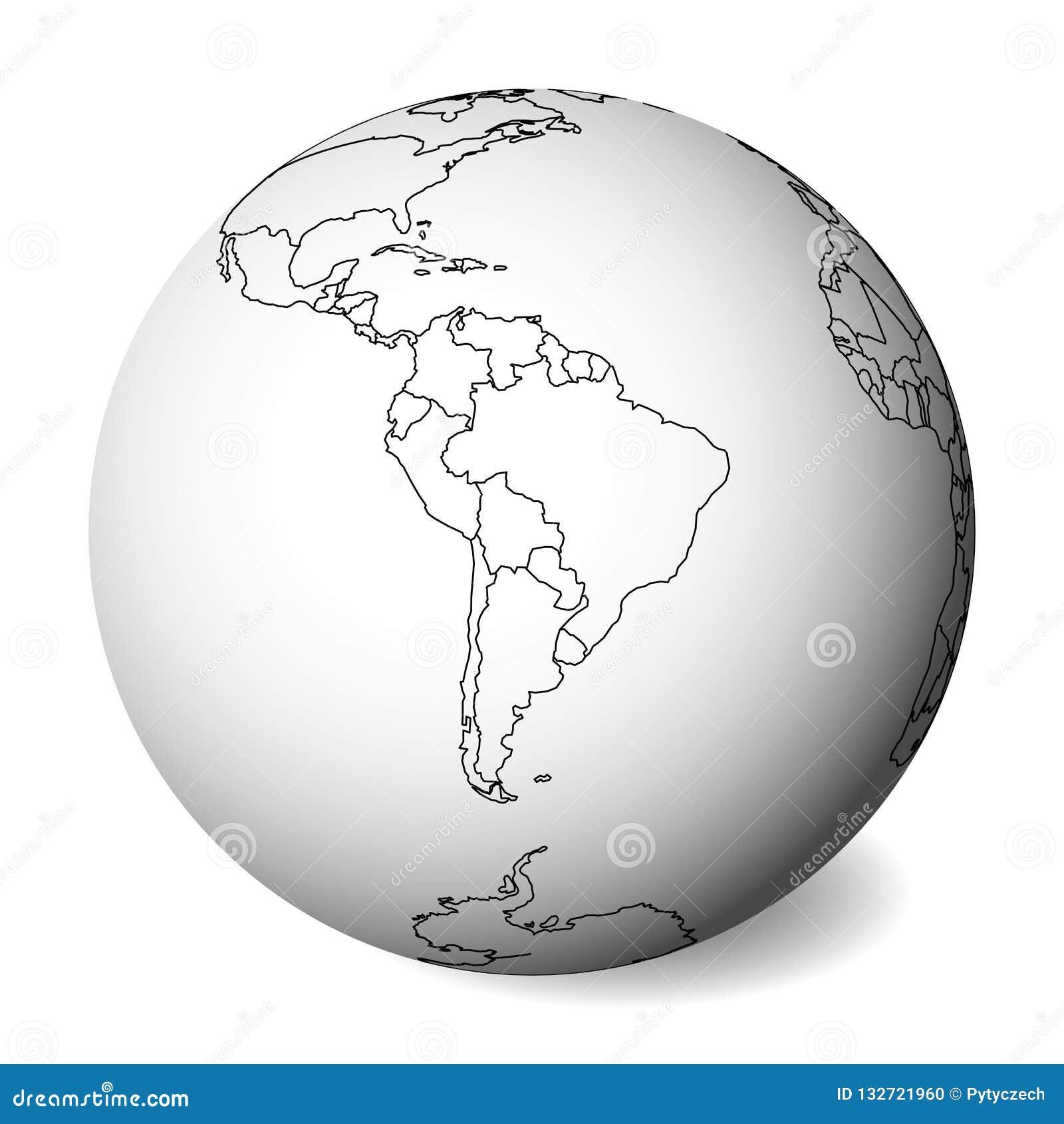 Mapa político en blanco de Suramérica globo de la tierra 3D con el mapa negro del esquema Ilustración del vector