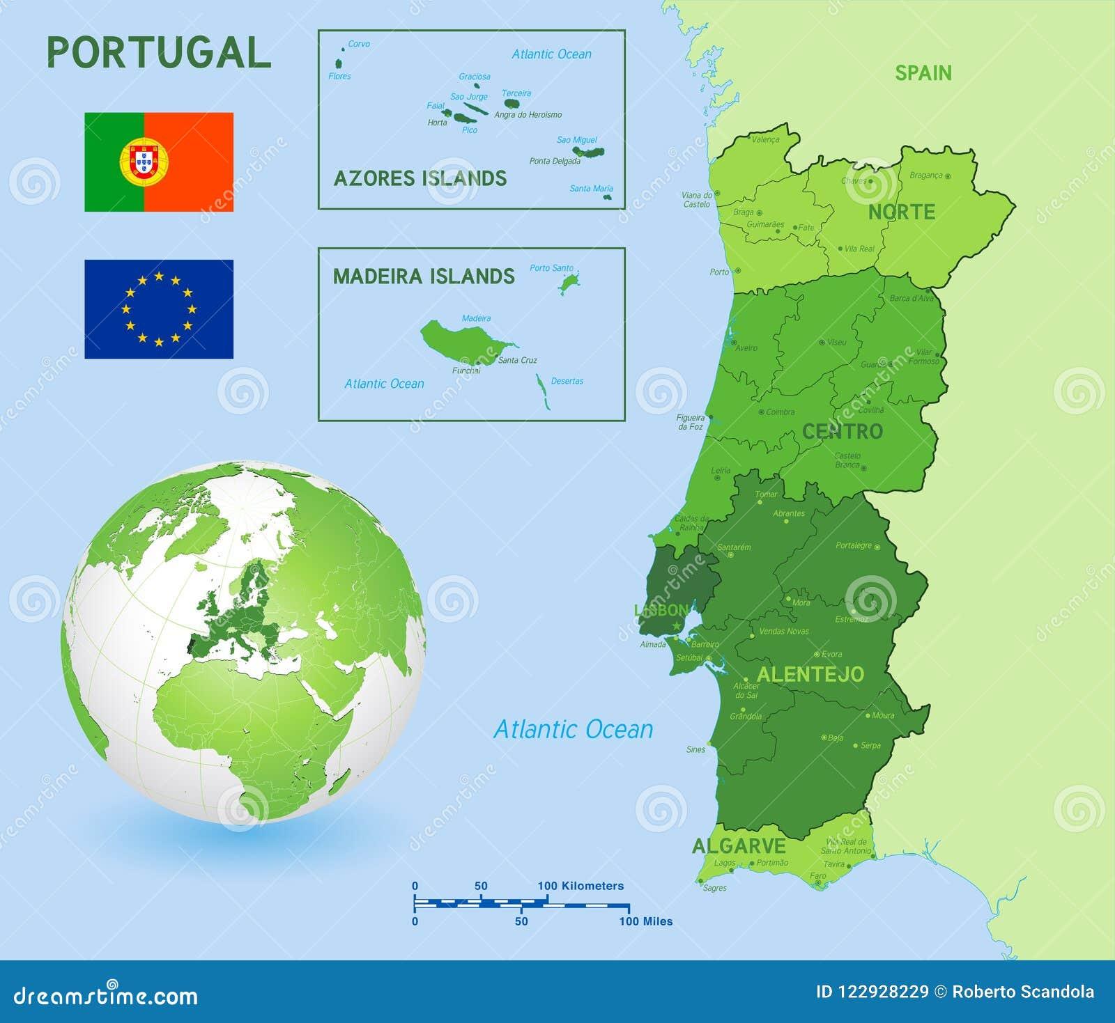 Mapa Politico Verde Do Vetor De Portugal Ilustracao Do Vetor