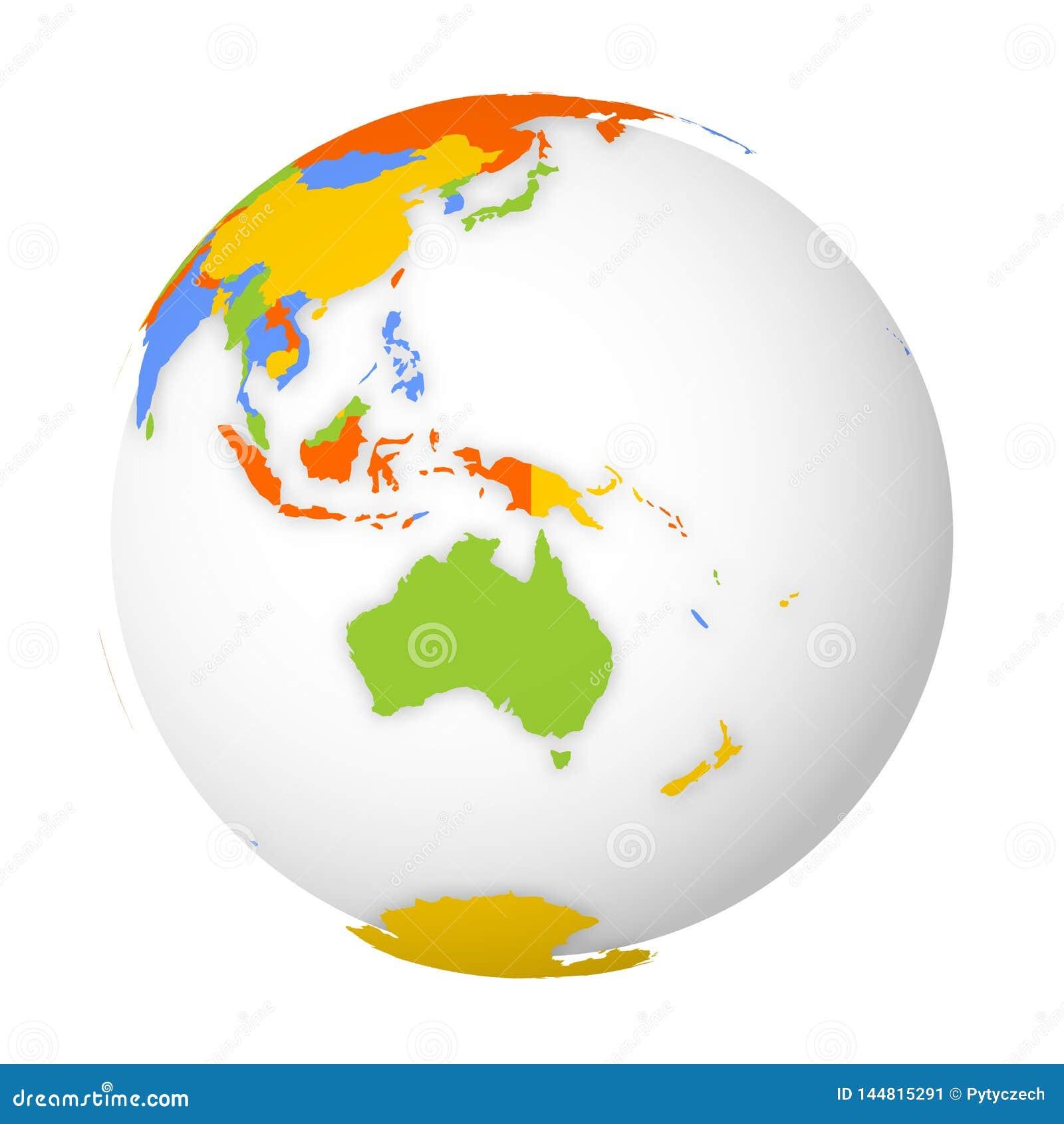Mapa pol?tico en blanco de Australia globo de la tierra 3D con el mapa coloreado Ilustraci?n del vector