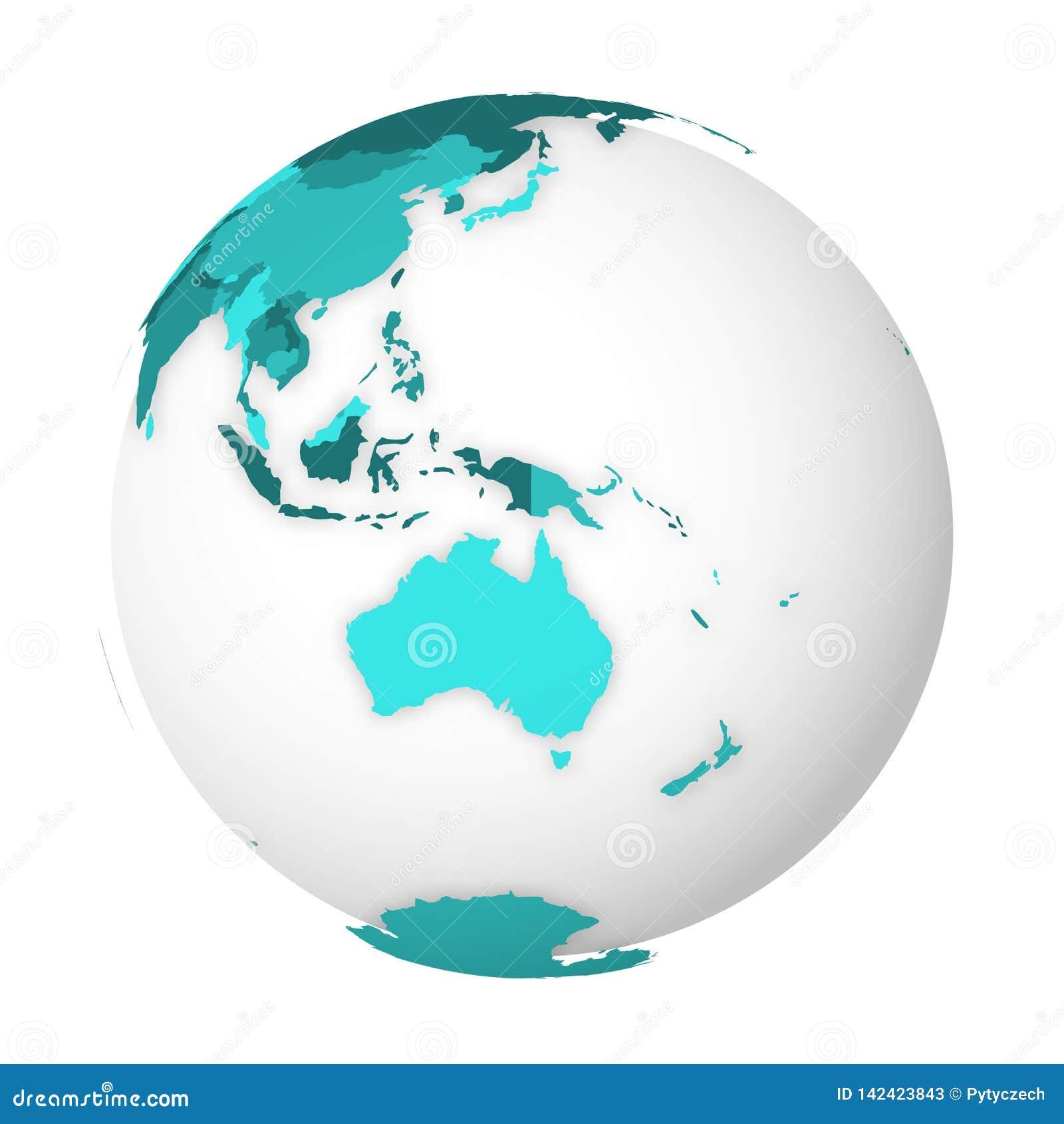 Mapa pol?tico en blanco de Australia globo de la tierra 3D con el mapa de los azules turquesa Ilustraci?n del vector