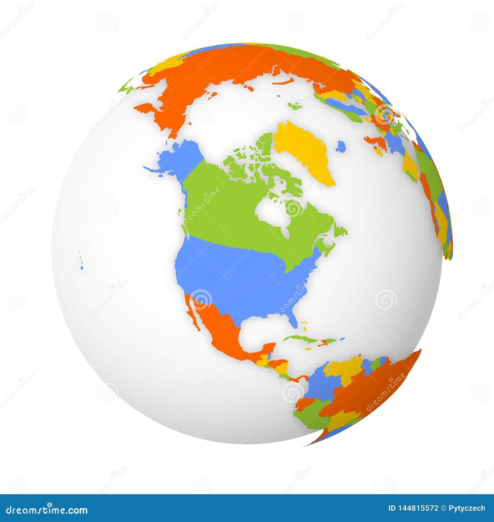 Mapa pol?tico en blanco de Norteam?rica Globo de la tierra con el mapa coloreado Ilustraci?n del vector