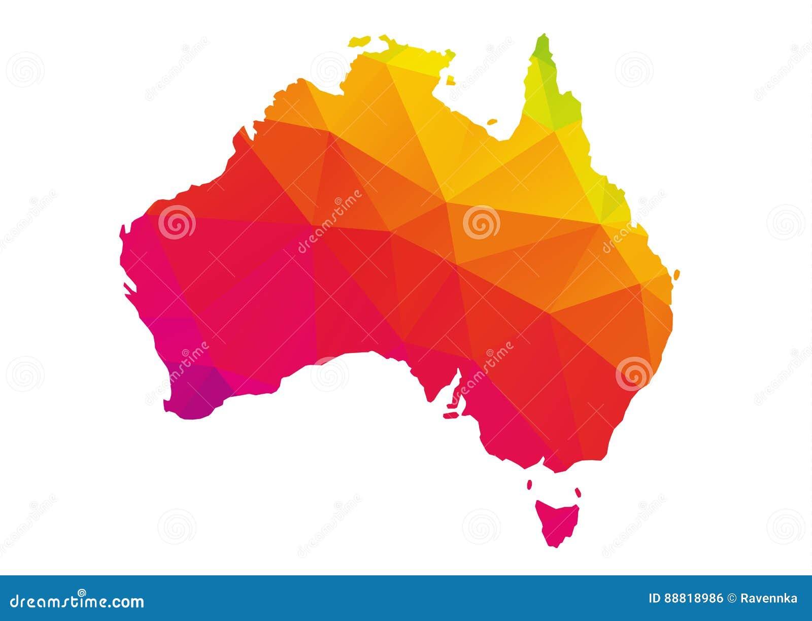 Mapa poligonal colorido de Austrália, isolado no branco