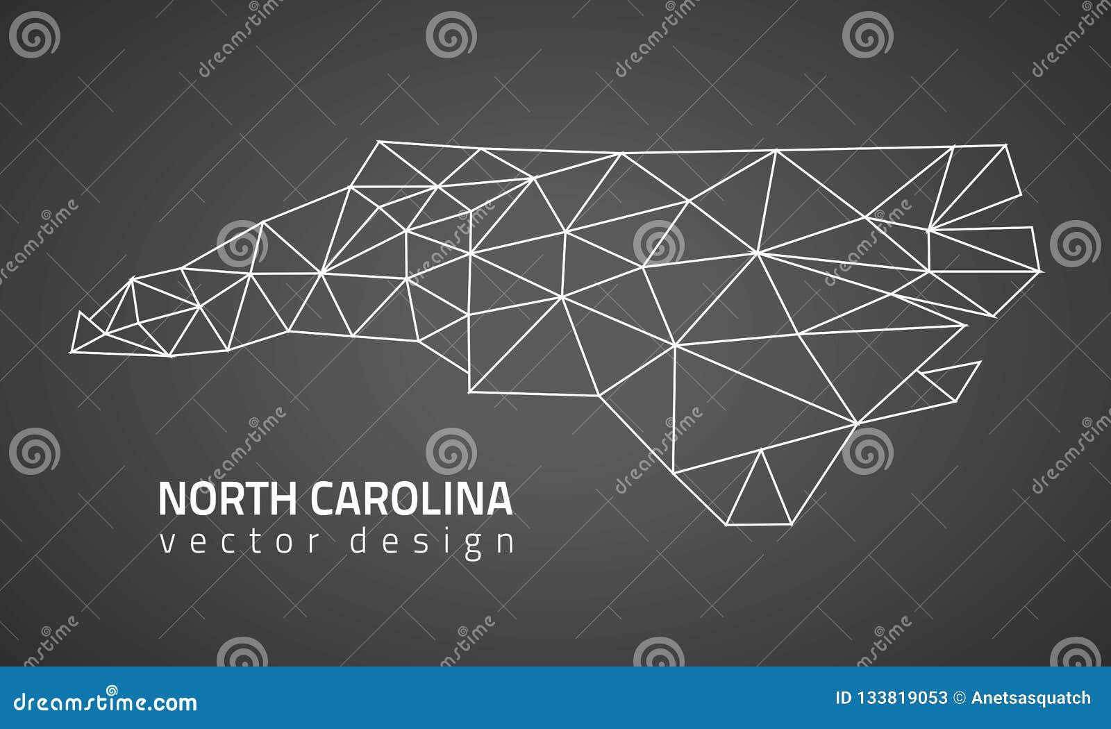 Mapa poligonal de la perspectiva del triángulo del negro del contorno del vector de Carolina del Norte