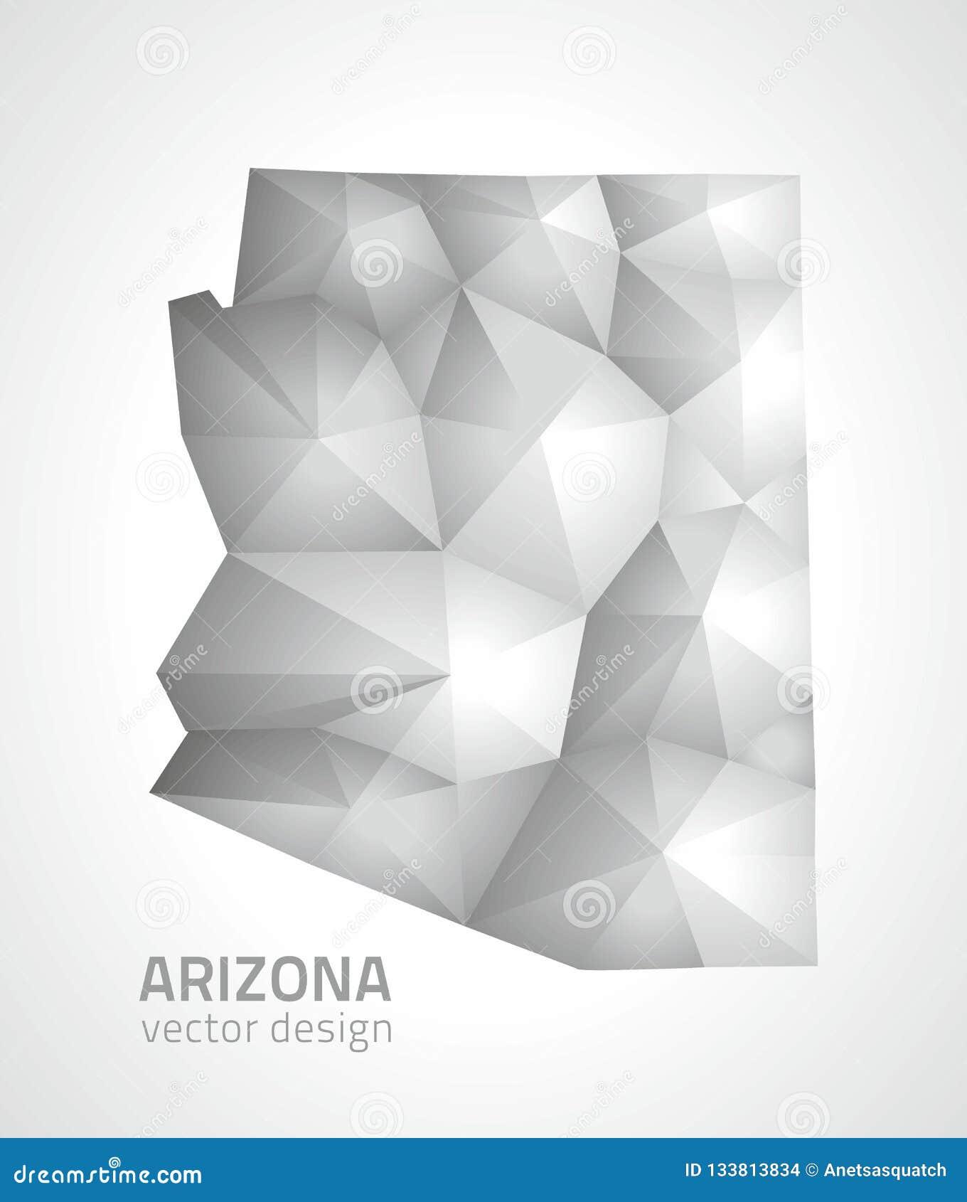 Mapa poligonal del mosaico 3d del vector gris y de plata de Arizona