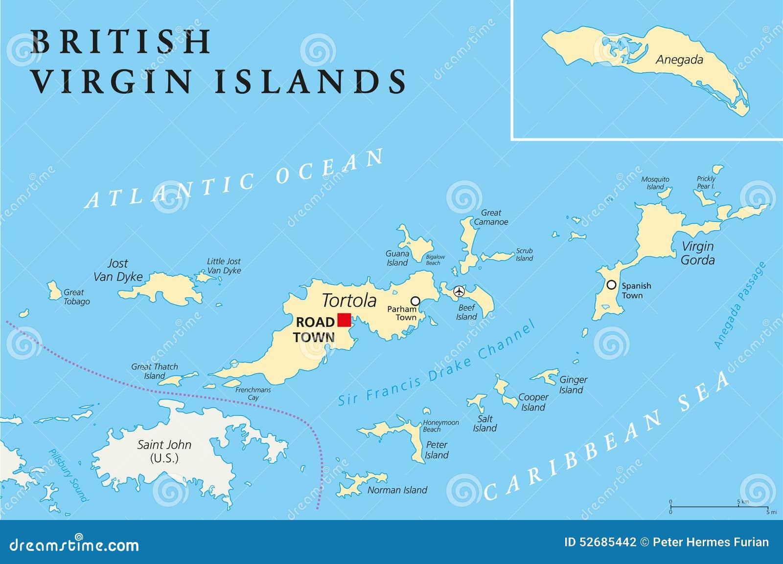Mapa De Localização De Pontos De Vetor Localização De: Mapa Político De Ilhas Virgens Britânicas Ilustração