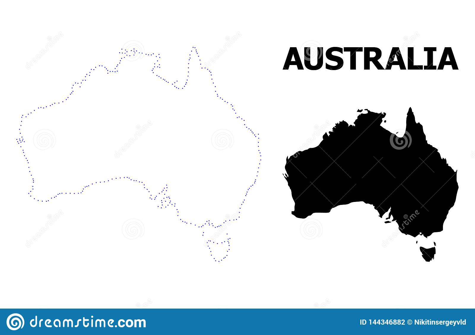Mapa pontilhado contorno do vetor de Austrália com subtítulo