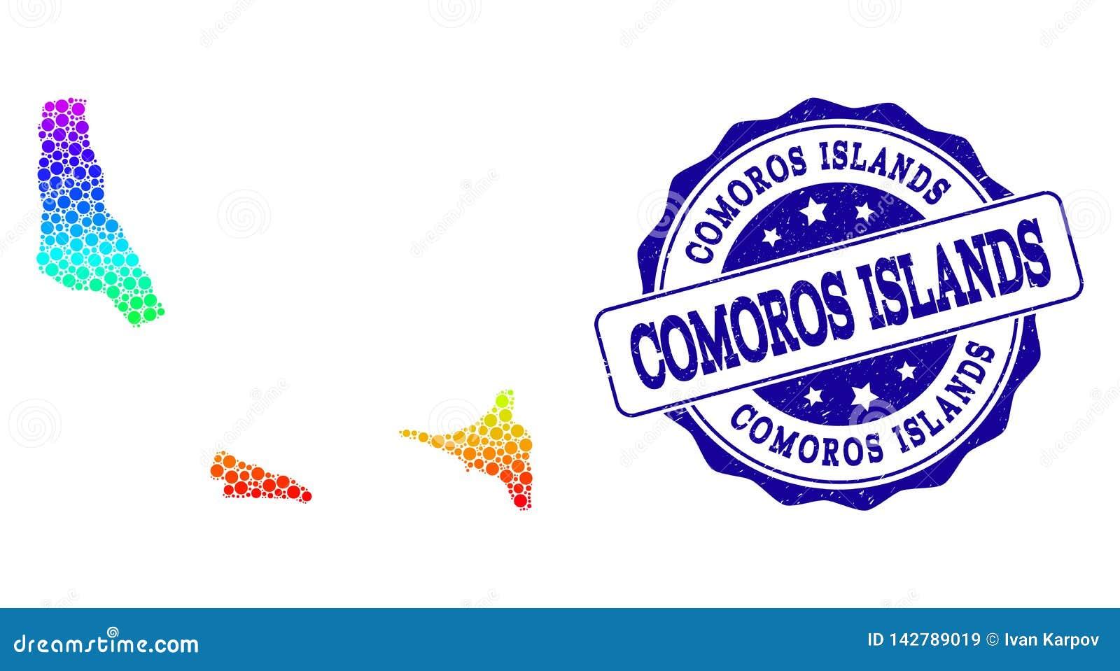 Mapa pontilhado do arco-íris de ilhas de Comores e de selo do selo do Grunge
