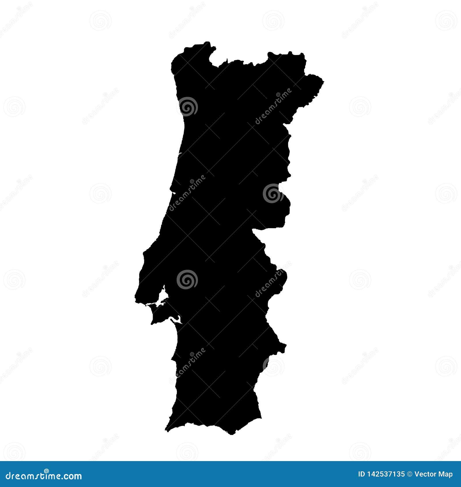 Mapa Portugal do vetor Ilustra??o isolada do vetor Preto no fundo branco