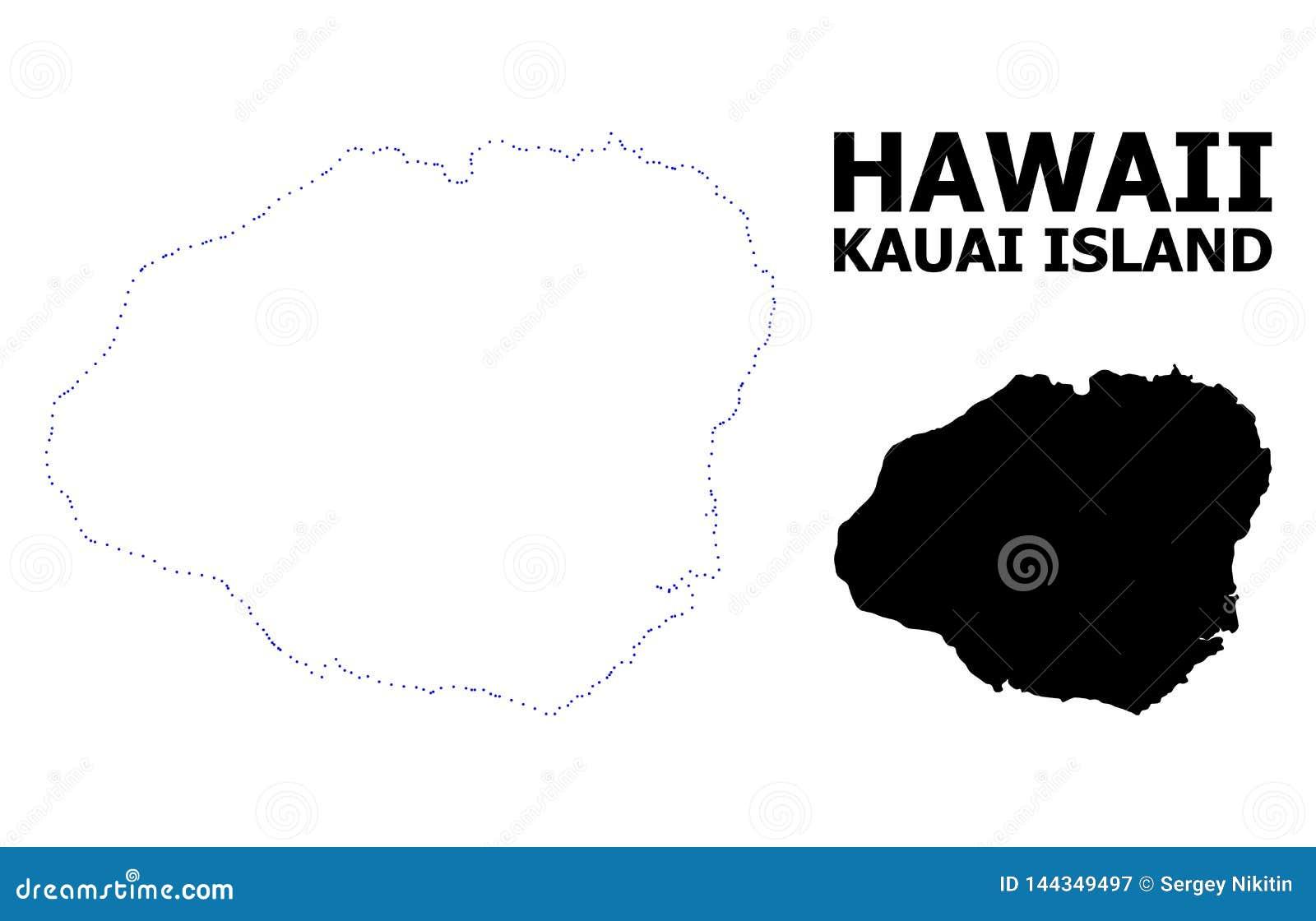 Mapa punteado contorno del vector de la isla de Kauai con el subtítulo