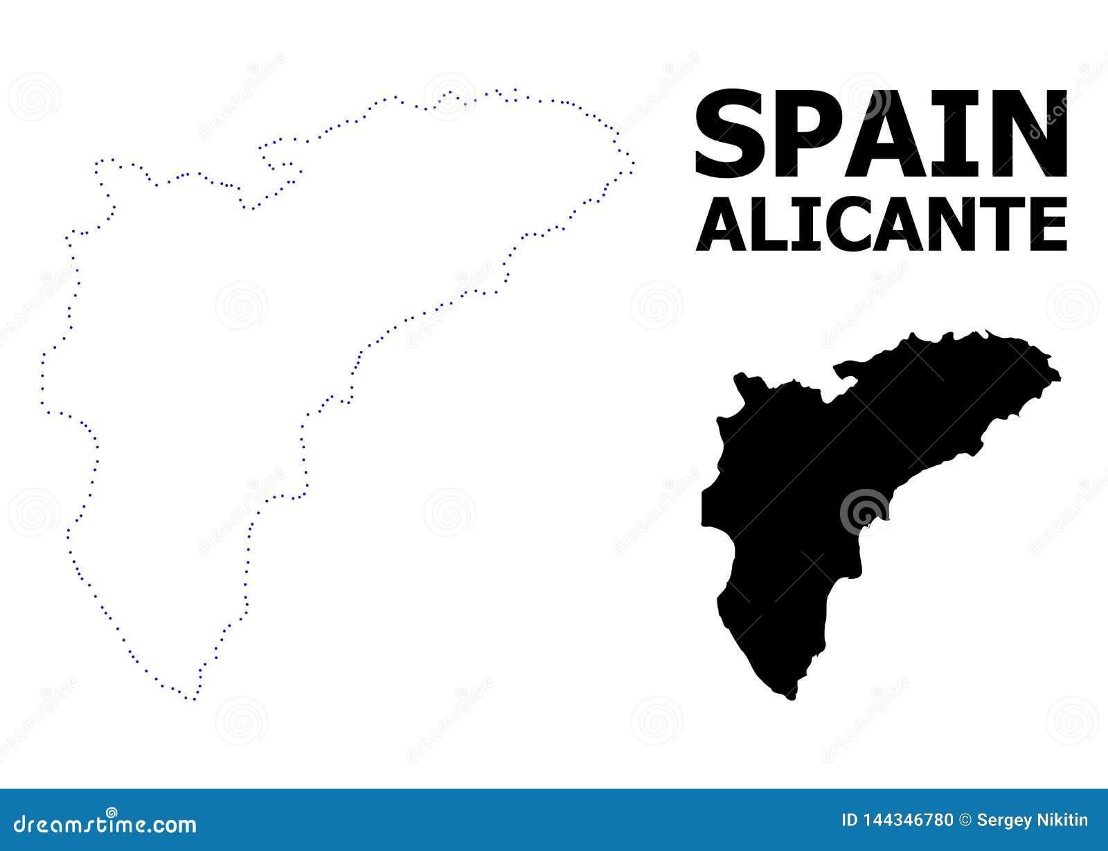 Mapa punteado contorno del vector de la provincia de Alicante con el subtítulo