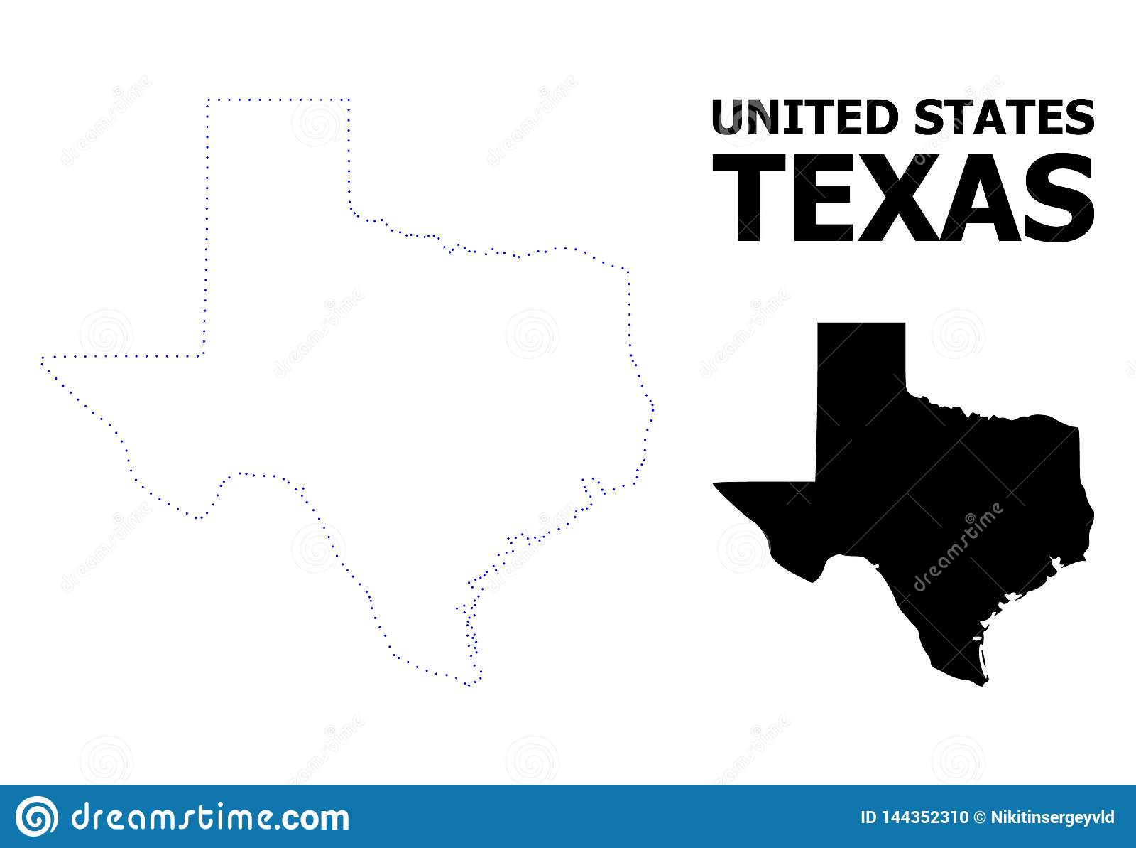 Mapa punteado contorno del vector de Texas State con nombre