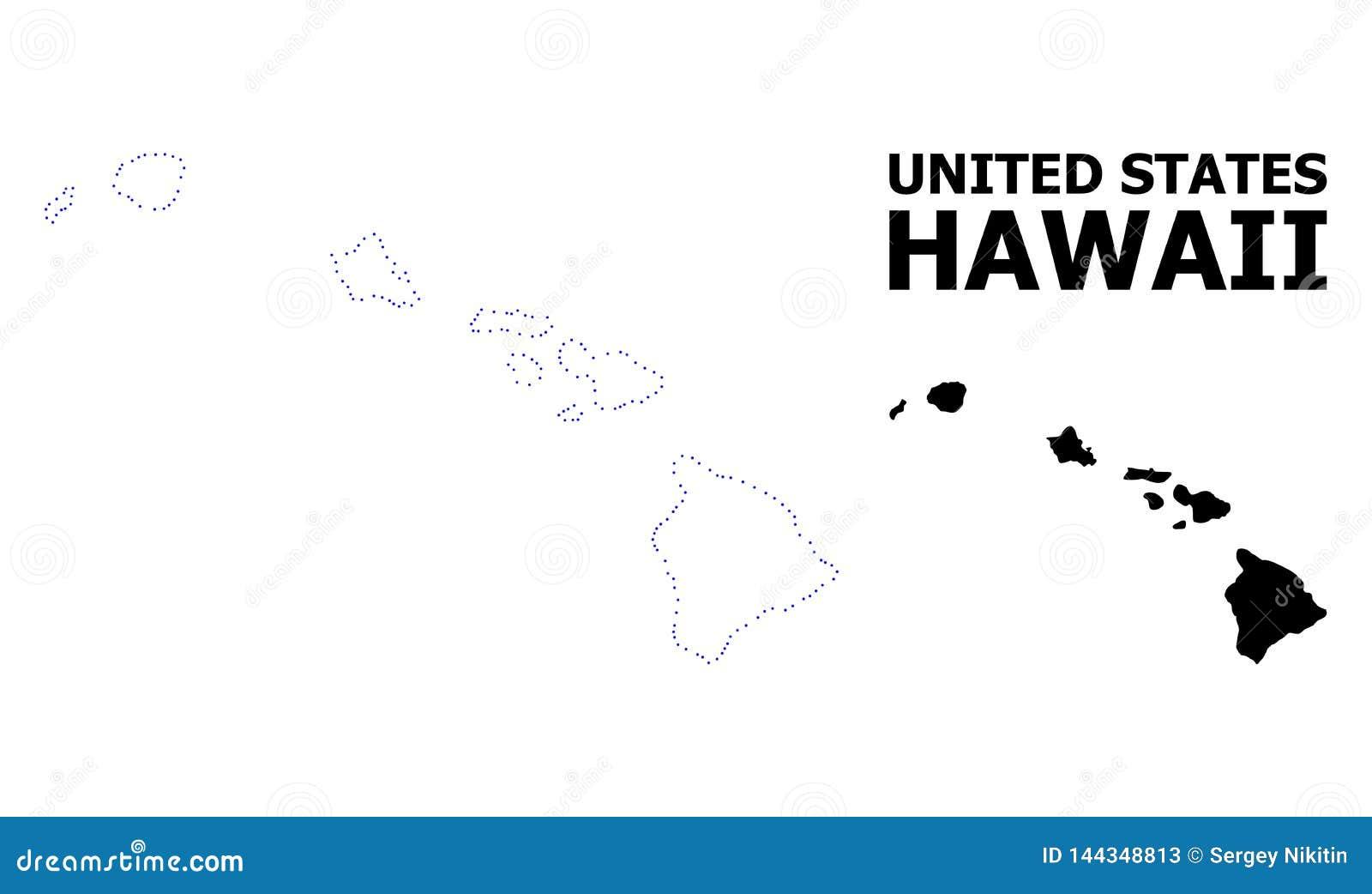 Mapa punteado contorno del vector del estado de Hawaii con el subtítulo