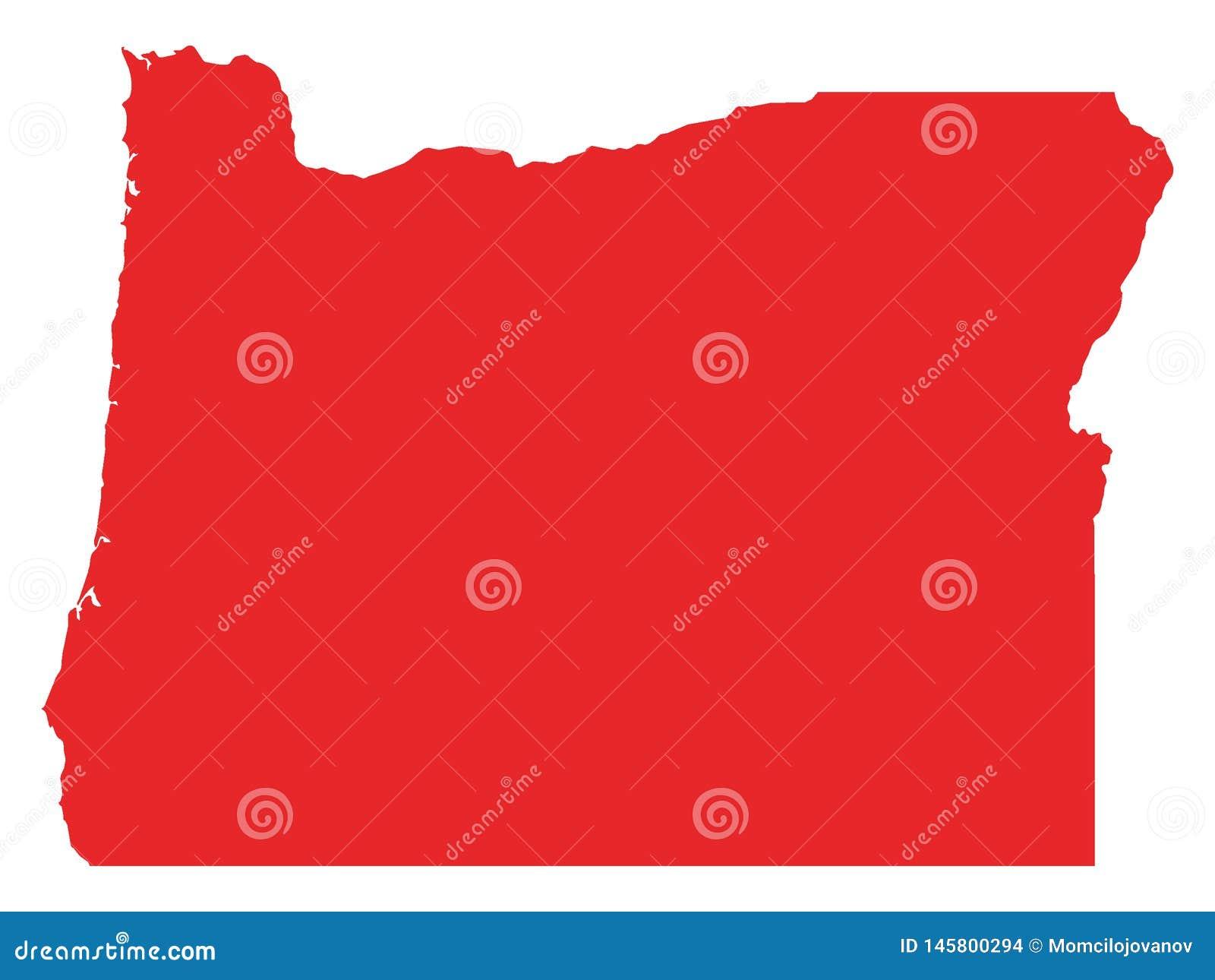 Mapa rojo del estado de los E.E.U.U. de Oregon