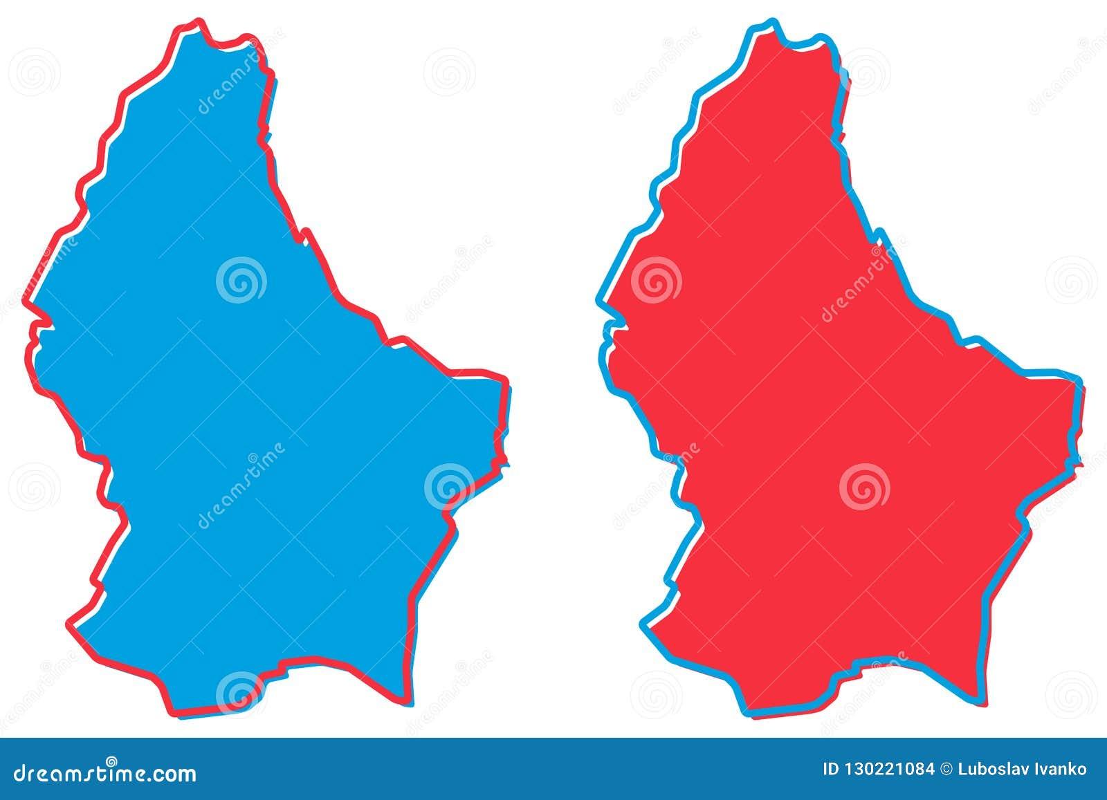 Mapa simplificado del esquema de Luxemburgo El terraplén y el movimiento son nación