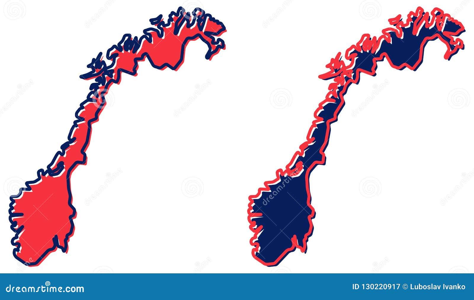 Mapa simplificado del esquema de Noruega El terraplén y el movimiento son c nacional