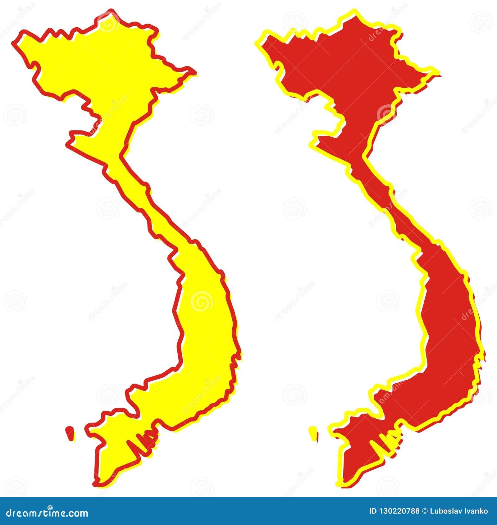 Mapa simplificado del esquema de Vietnam El terraplén y el movimiento son nacionales