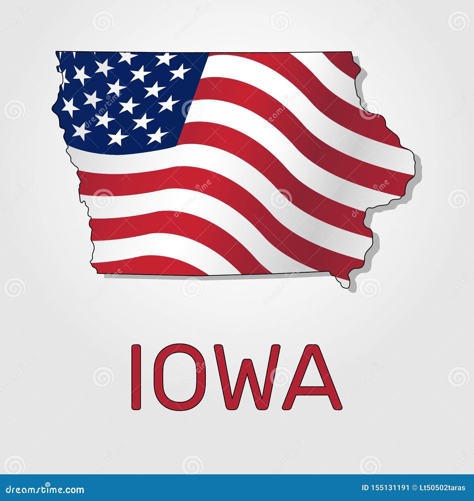 Mapa stan Iowa w połączeniu z falowaniem flaga Stany Zjednoczone - wektor