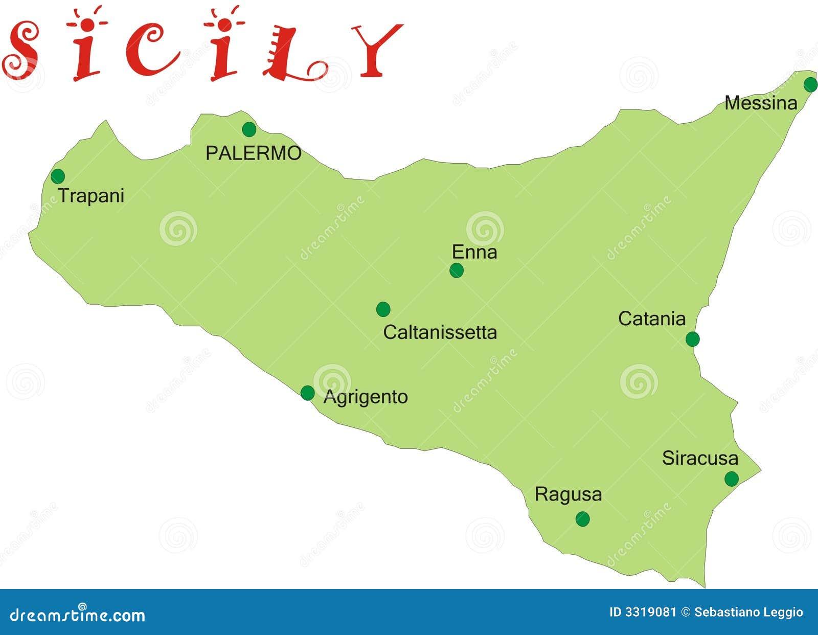 Mapa Sycylia Ilustracja Wektor Ilustracja Zlozonej Z Wyspa 3319081