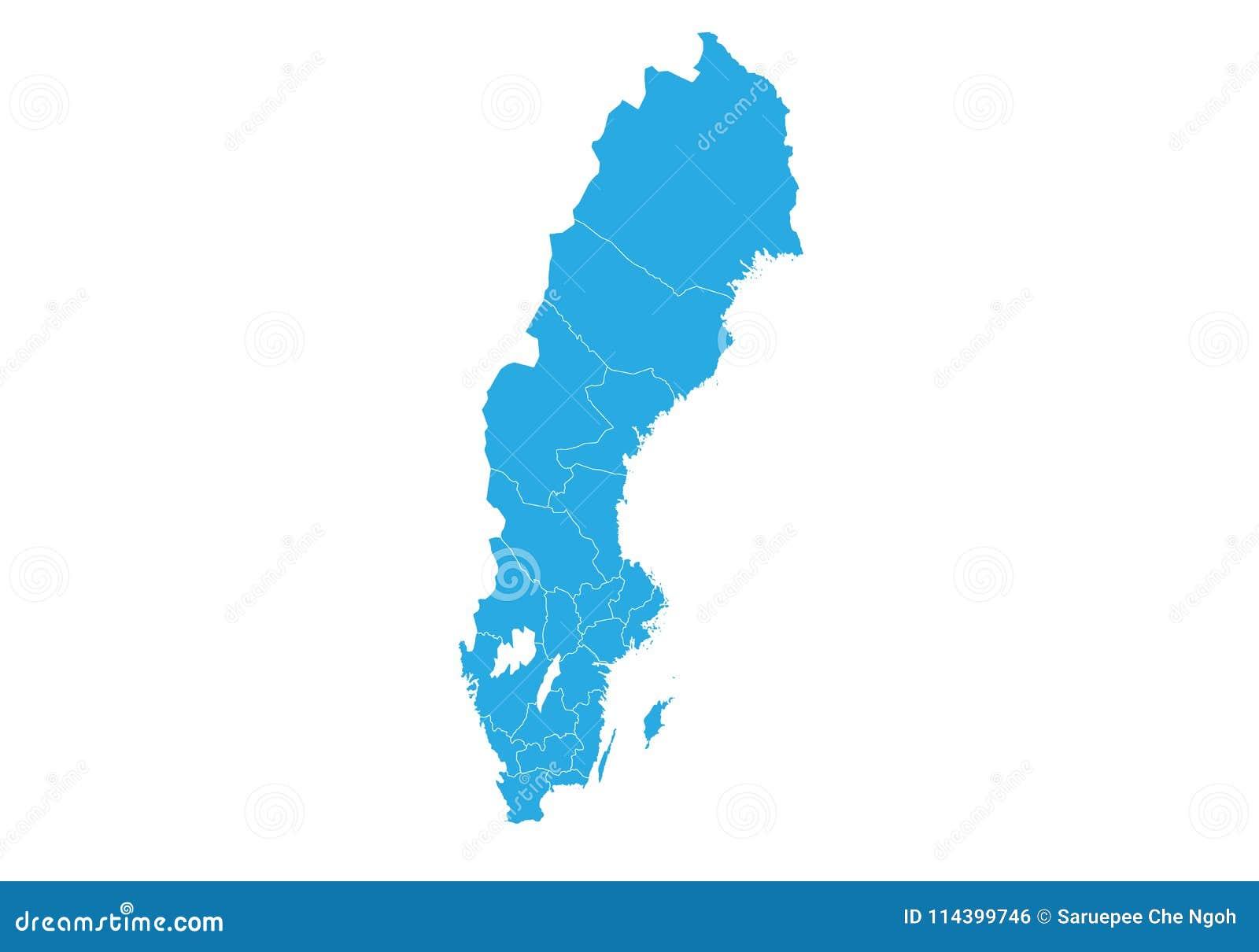 Mapa Szwecji Wysokosc Wyszczegolniajaca Wektorowa Mapa Sweden