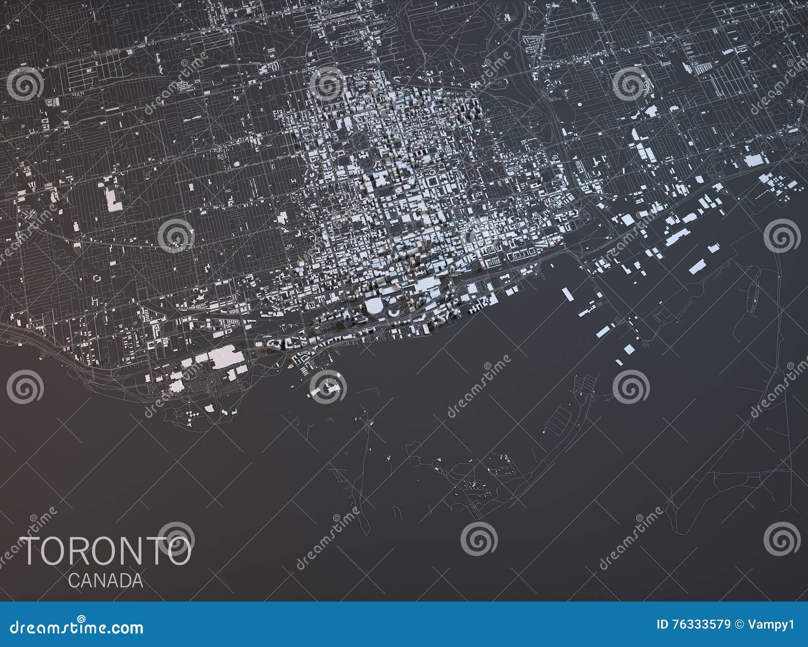 Mapa Toronto, satelitarny widok, miasto, Ontario, Kanada