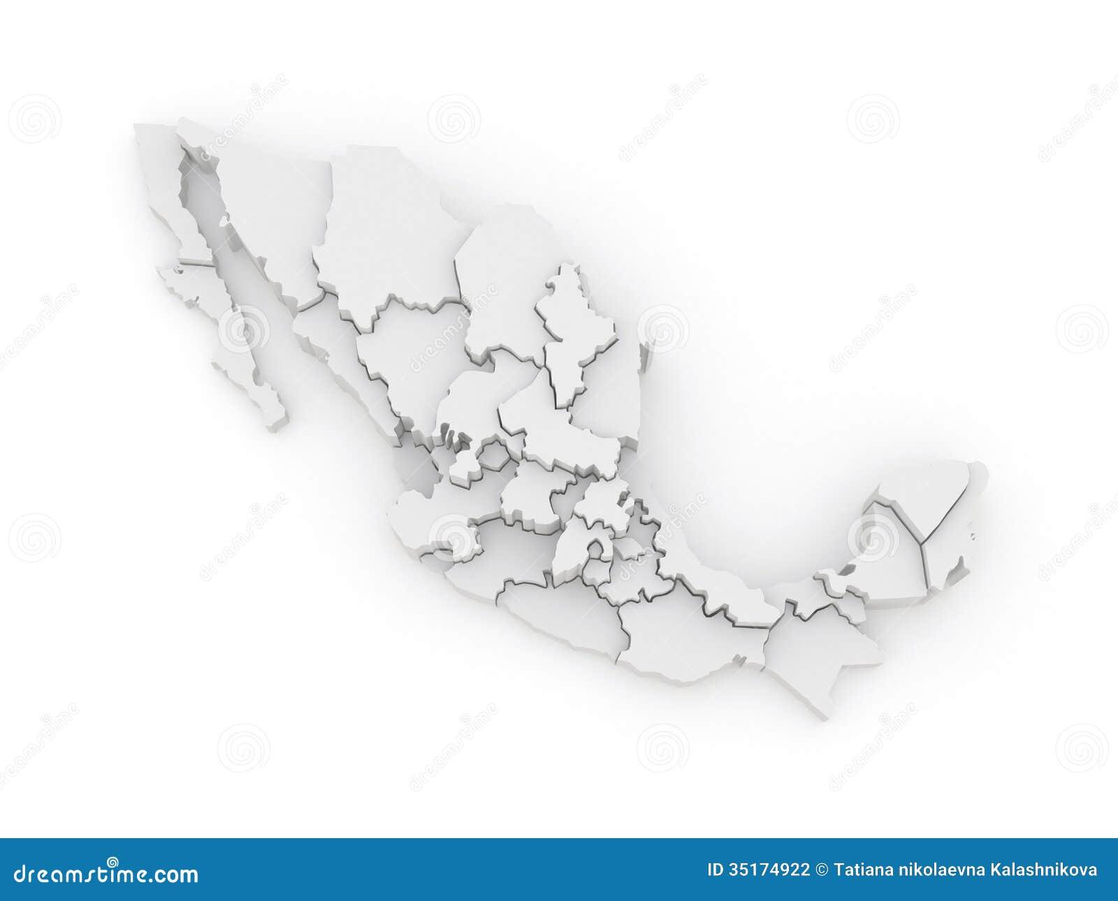 Icono Mapa Mexico Png: Mapa Tridimensional De México Stock De Ilustración