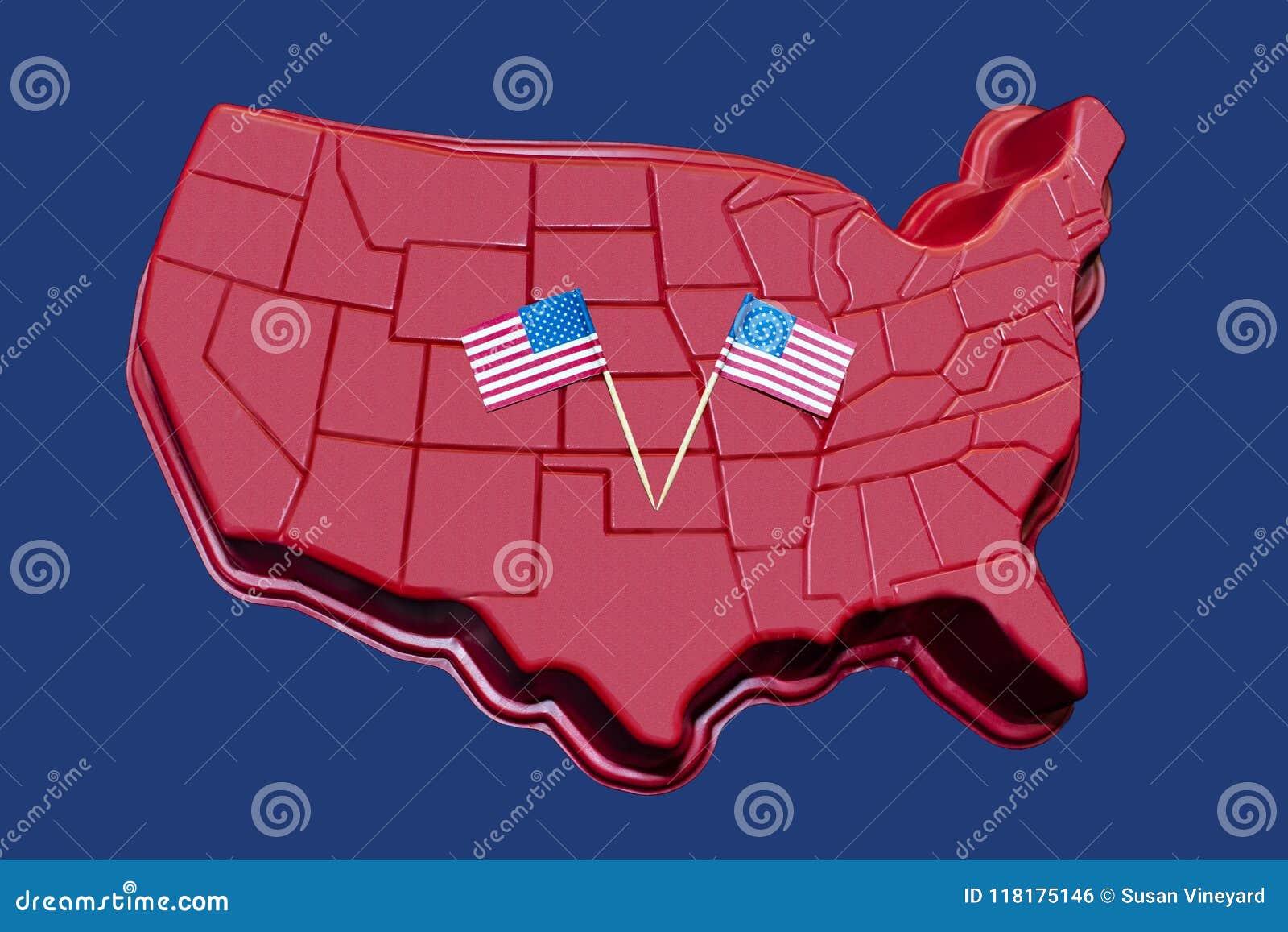 Mapa tridimensional dos E.U. continentais com as bandeiras americanas indicadas neles - fundo ou elemento patriótico