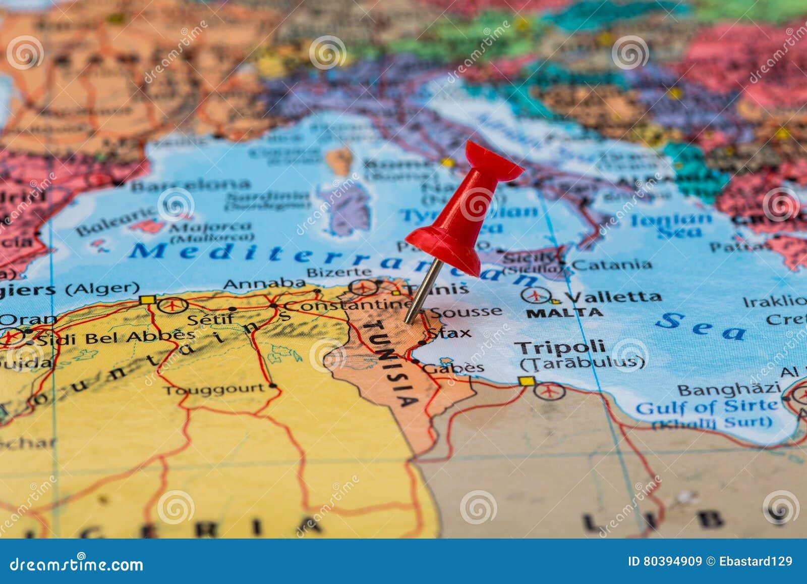 Mapa Tunezja Z Czerwonym Pushpin Wtykajacym Obraz Stock Obraz