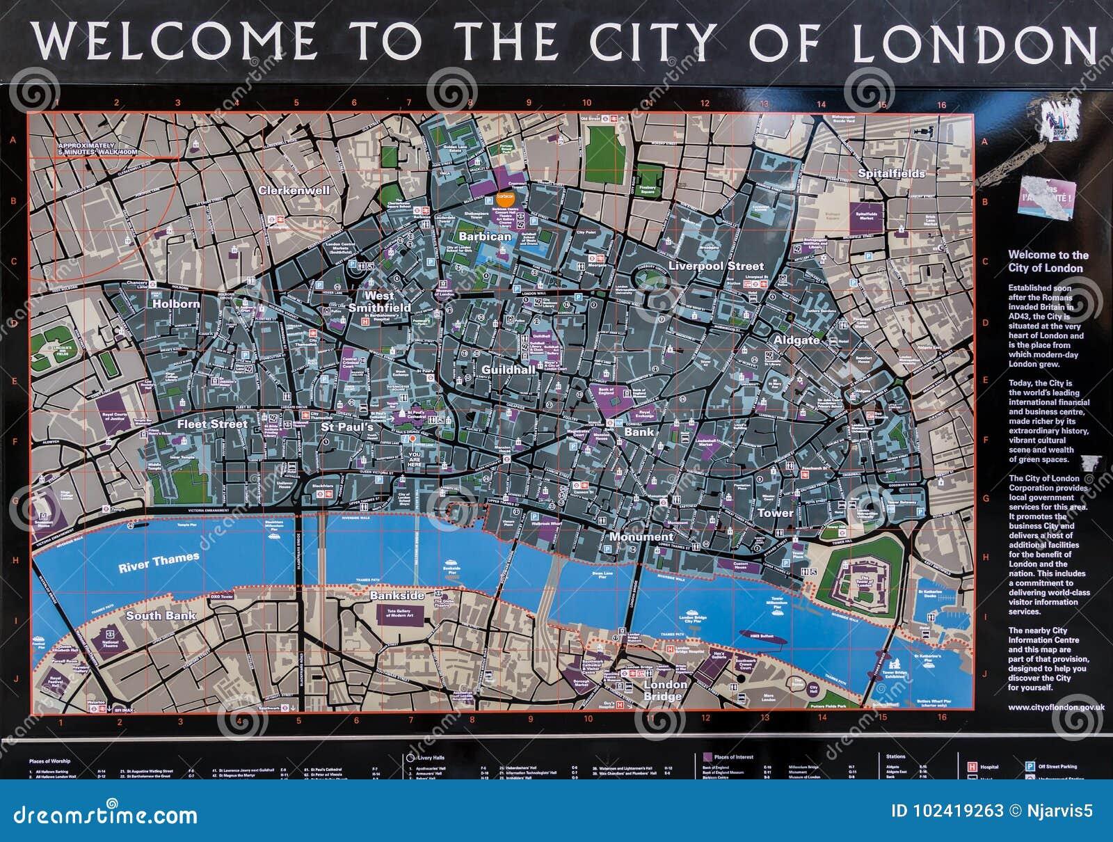 Mapa Turístico De Londres.Mapa Turistico De La Ciudad De Londres Foto De Archivo
