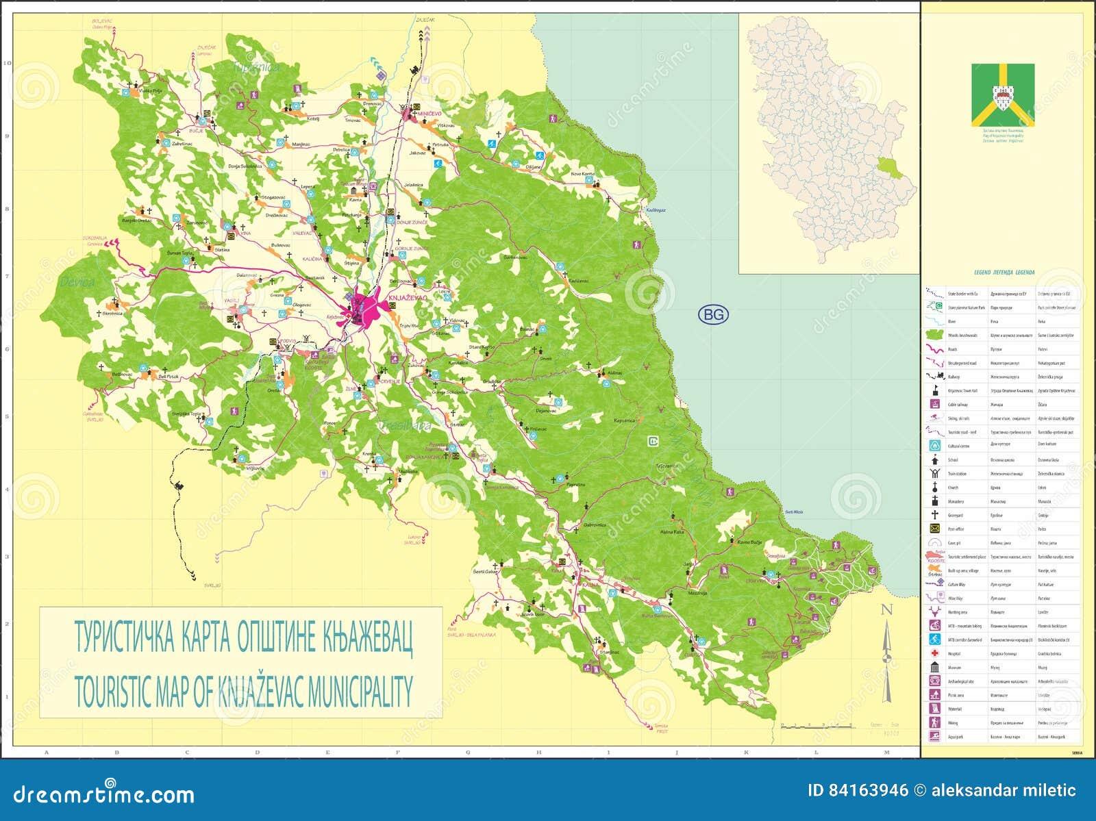 Mapa Turistico Del Municipio Del Knjazevac Foto Editorial