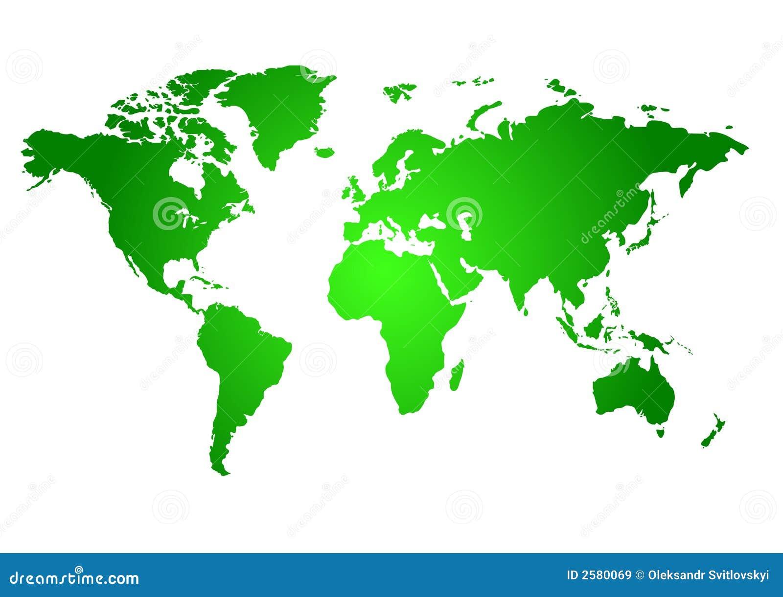 Mapa verde do mundo