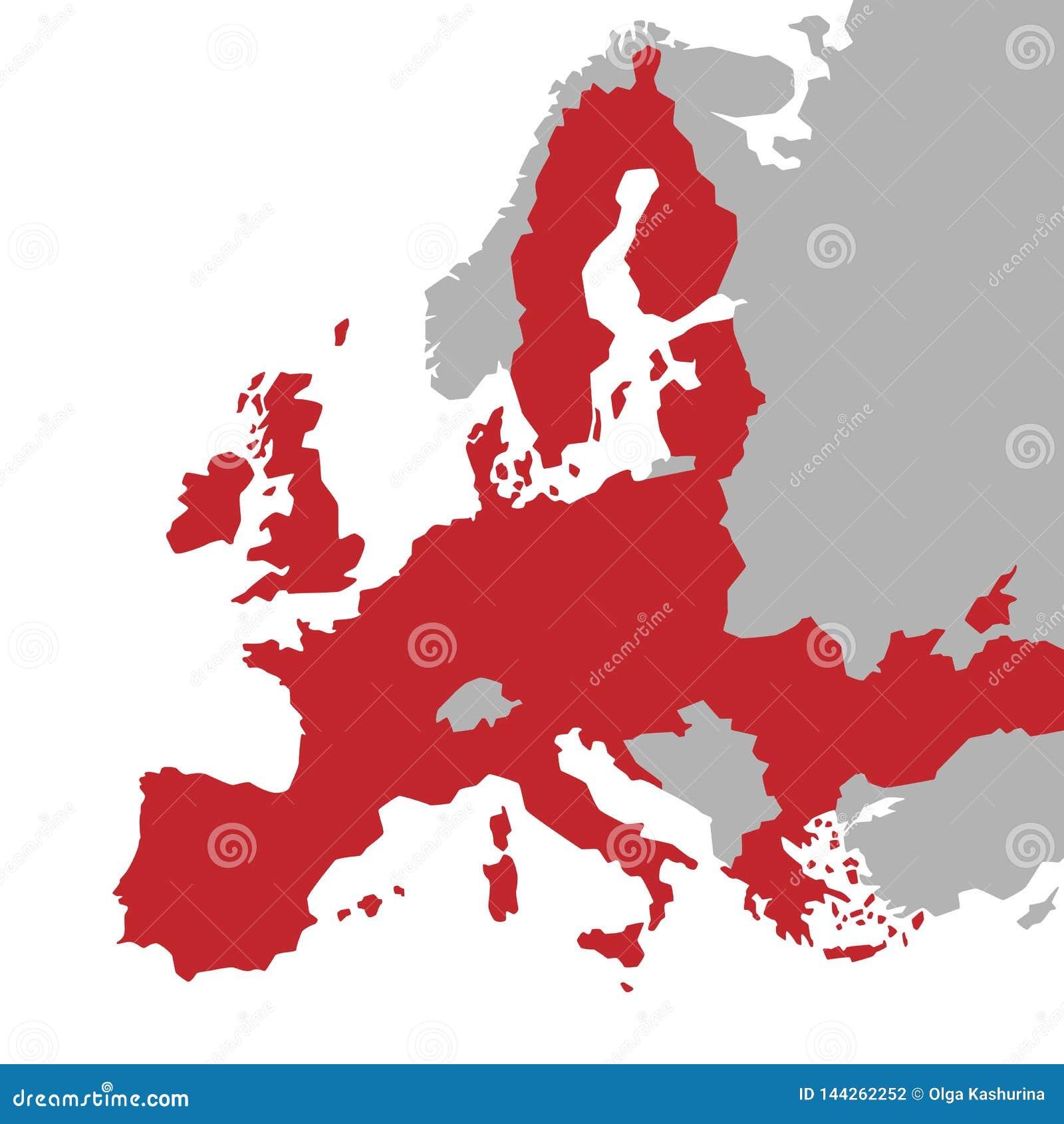 Mapa vermelho do vetor da União Europeia com os países extra de UE no cinza