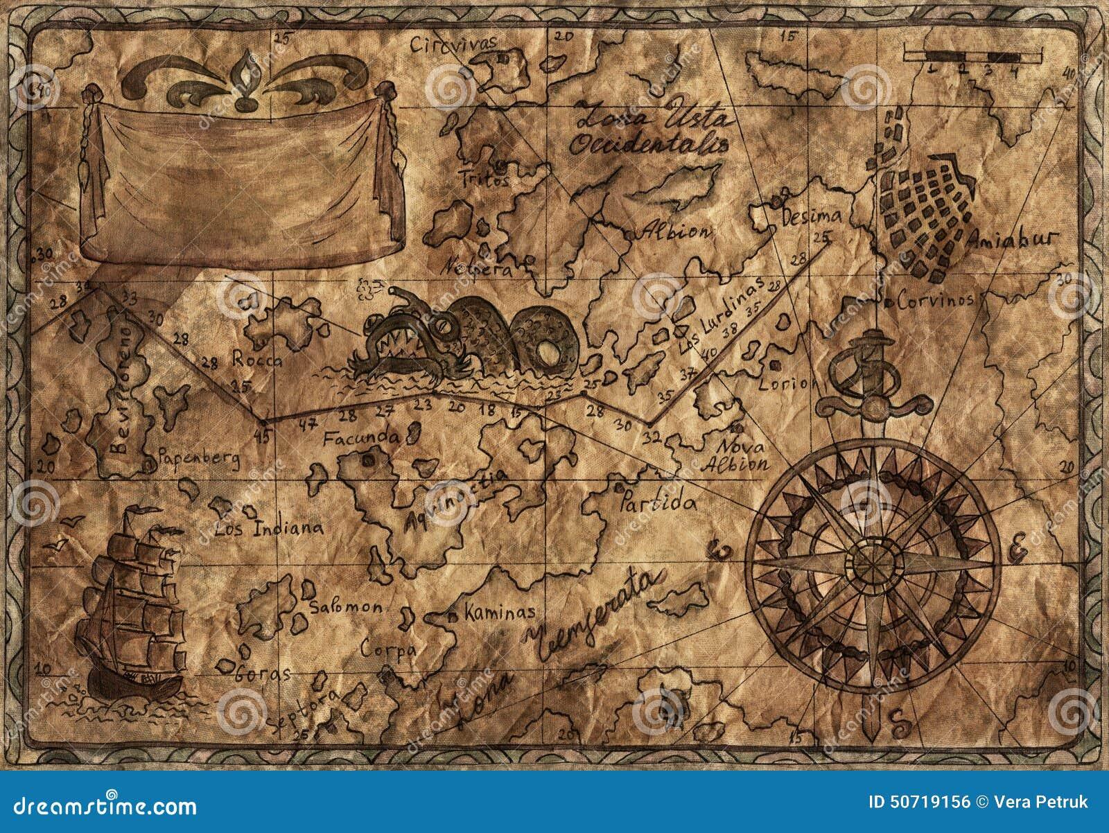 Mapa Viejo Del Pirata Con Efecto Desaturado Stock de ilustración ...