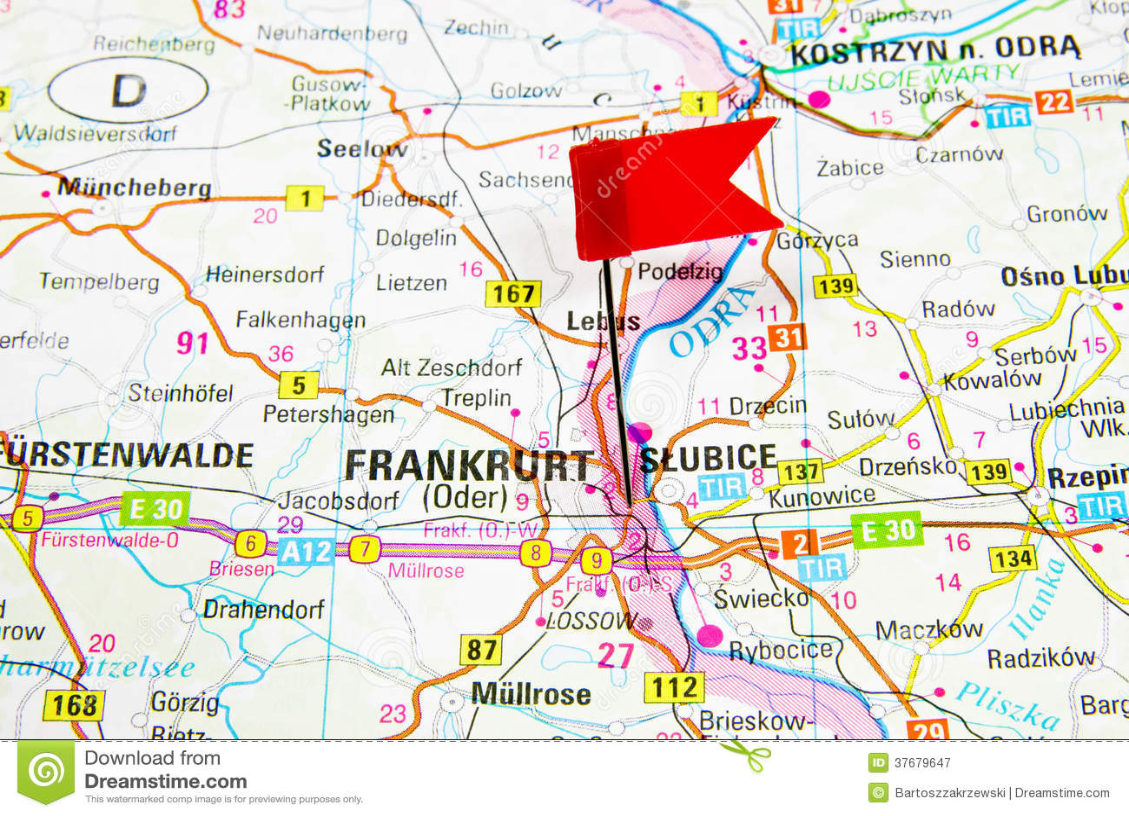 Mapa Wybrany Miasto Frankfurt Niemcy Slubice Polska Obraz
