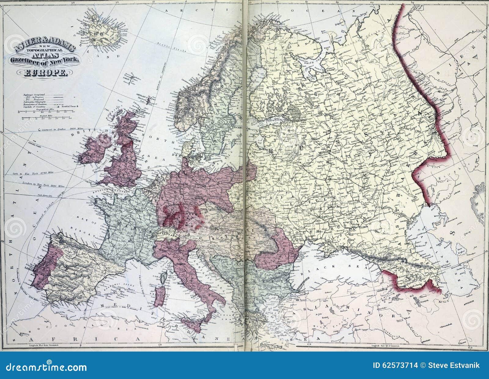 Mapa Xix Wiek Europa Ilustracji Ilustracja Zlozonej Z Kraje