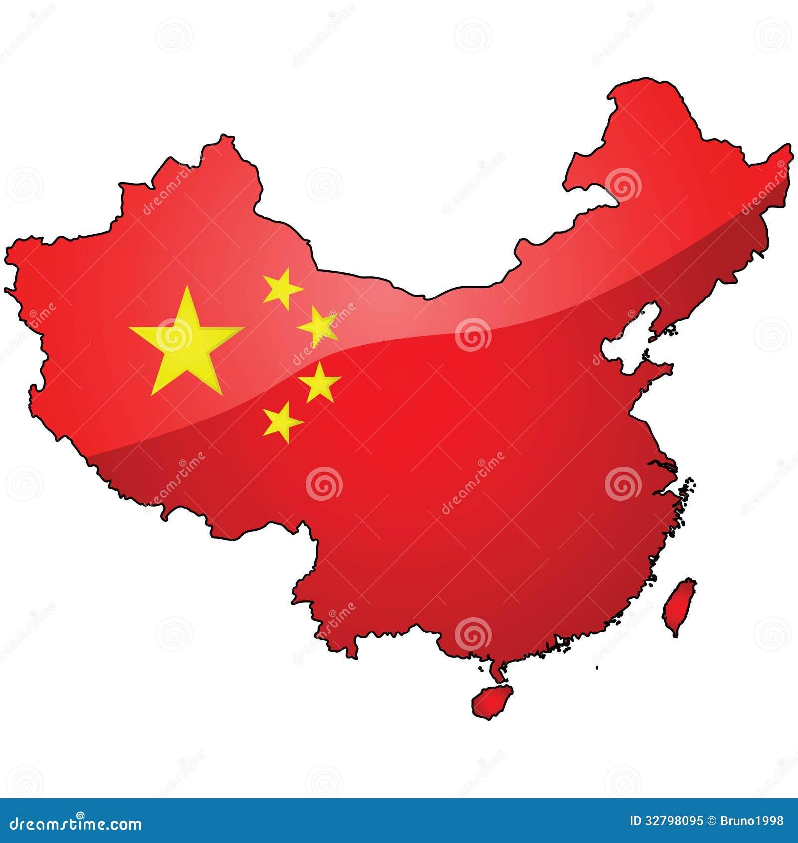 Mapa y bandera de China